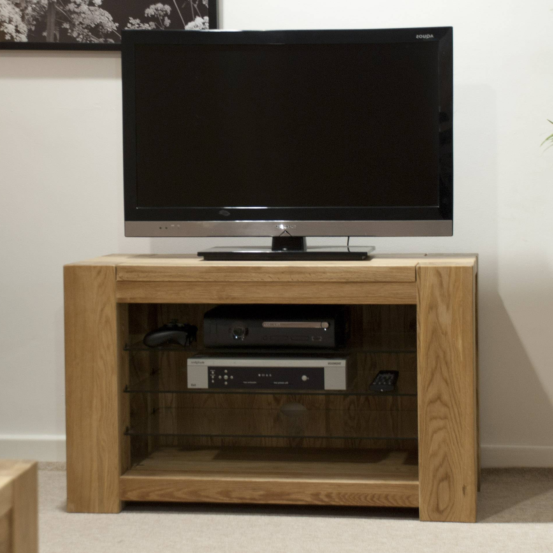 Chunky Tv Cabinets Within Recent Homestyle Trendy Lifestyle Solid Oak 90Cm Tv Unit – Tv Cabinets (View 6 of 20)