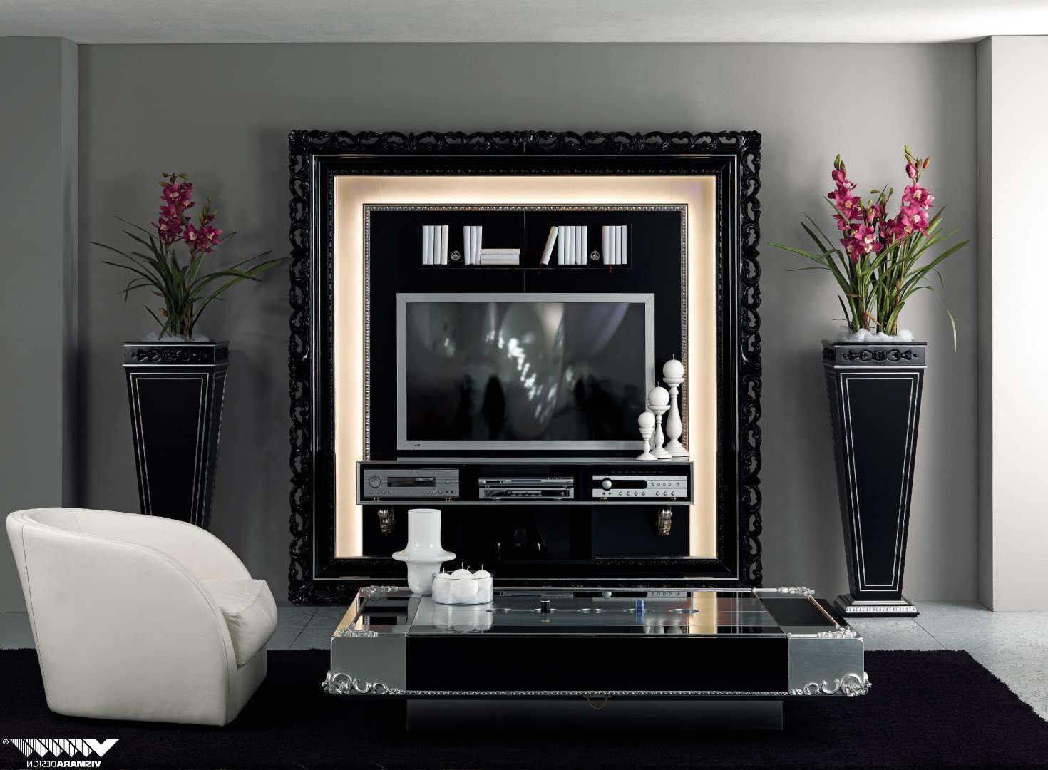 Classic Tv Stands Intended For Popular Tv Stand With Baroque Frame In Glossy Black, Perfect For Both (View 5 of 20)