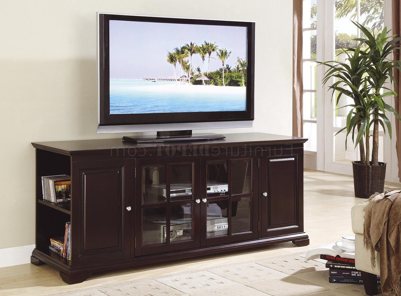 Classic Tv Stands With Regard To Trendy Deep Rich Espresso Finish Classic Tv Stand W/open Side Storage (View 6 of 20)