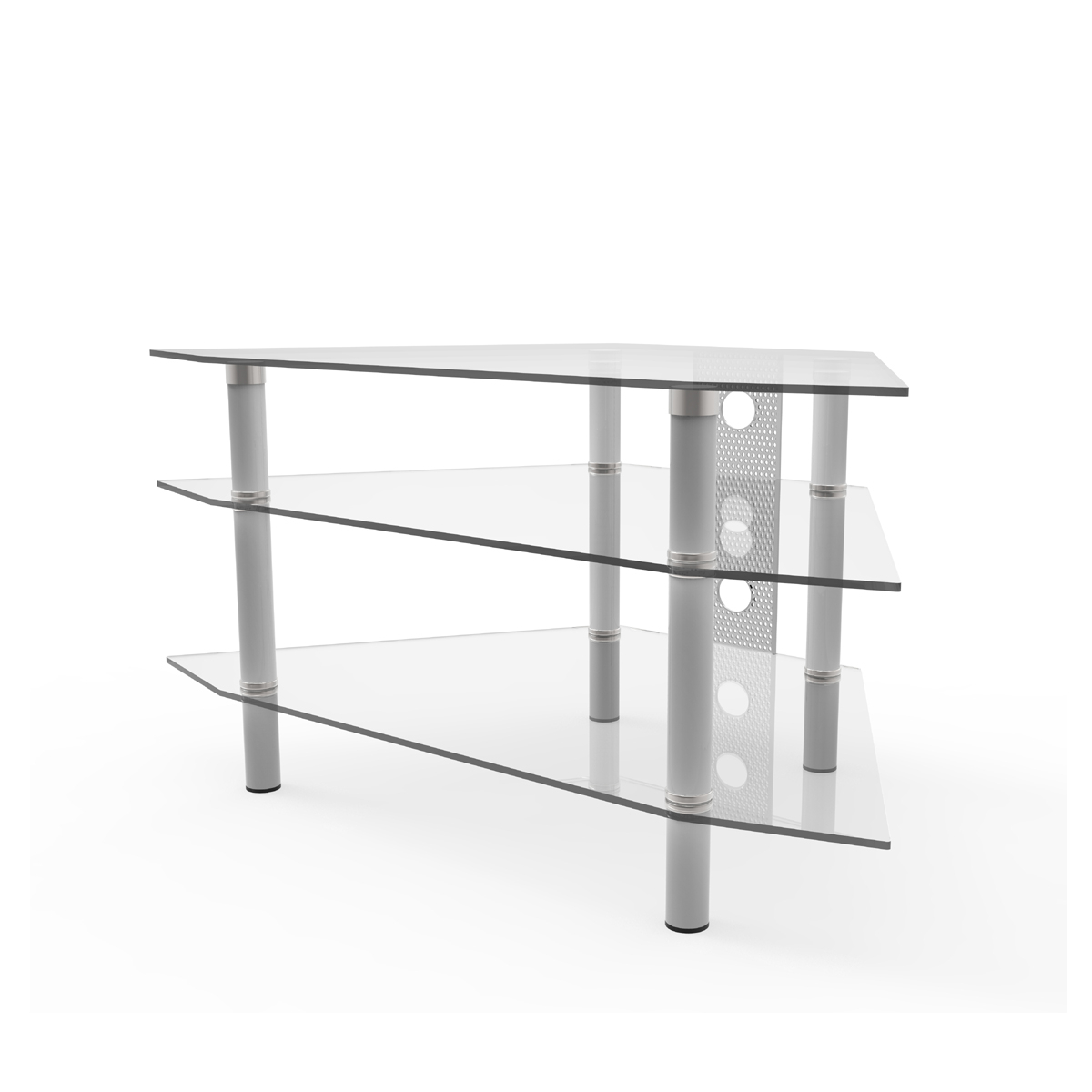Clear Glass Tv Stand With Regard To Newest Ruby 44 Inch Corner Glass Tv Stand Silver And Clear Glass (Gallery 5 of 20)