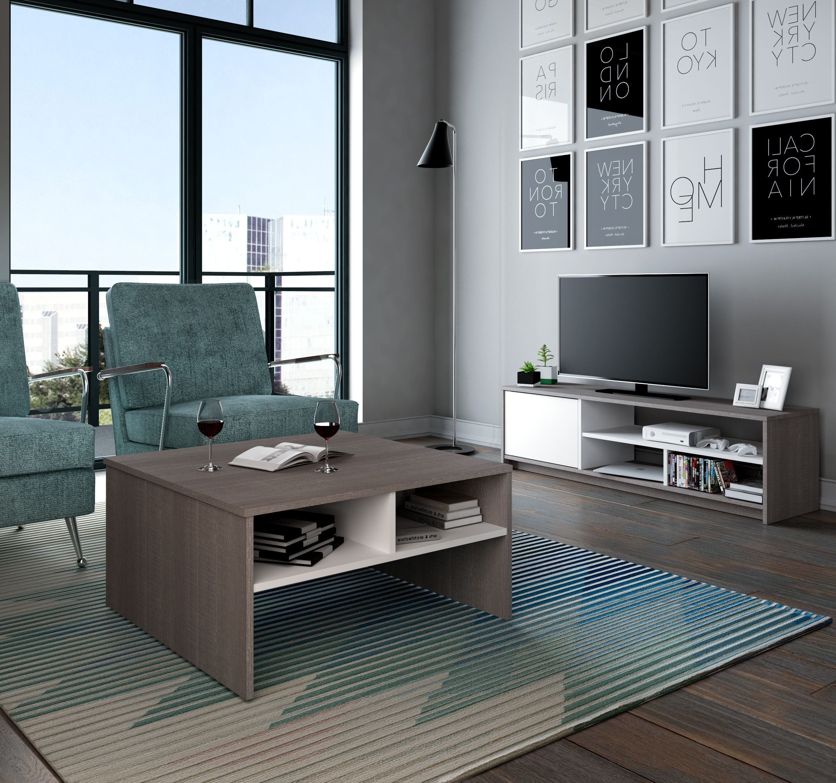 Coffee Tables And Tv Stands Sets Intended For Most Up To Date Small Space Bark Gray And White Storage Coffee Table With Tv Stand (View 5 of 20)