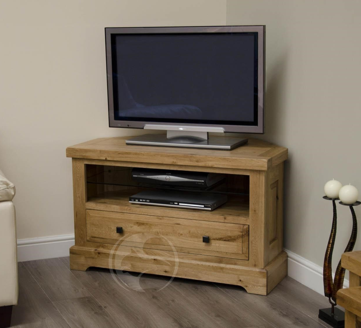 Coniston Rustic Solid Oak Corner Tv Unit (View 3 of 20)