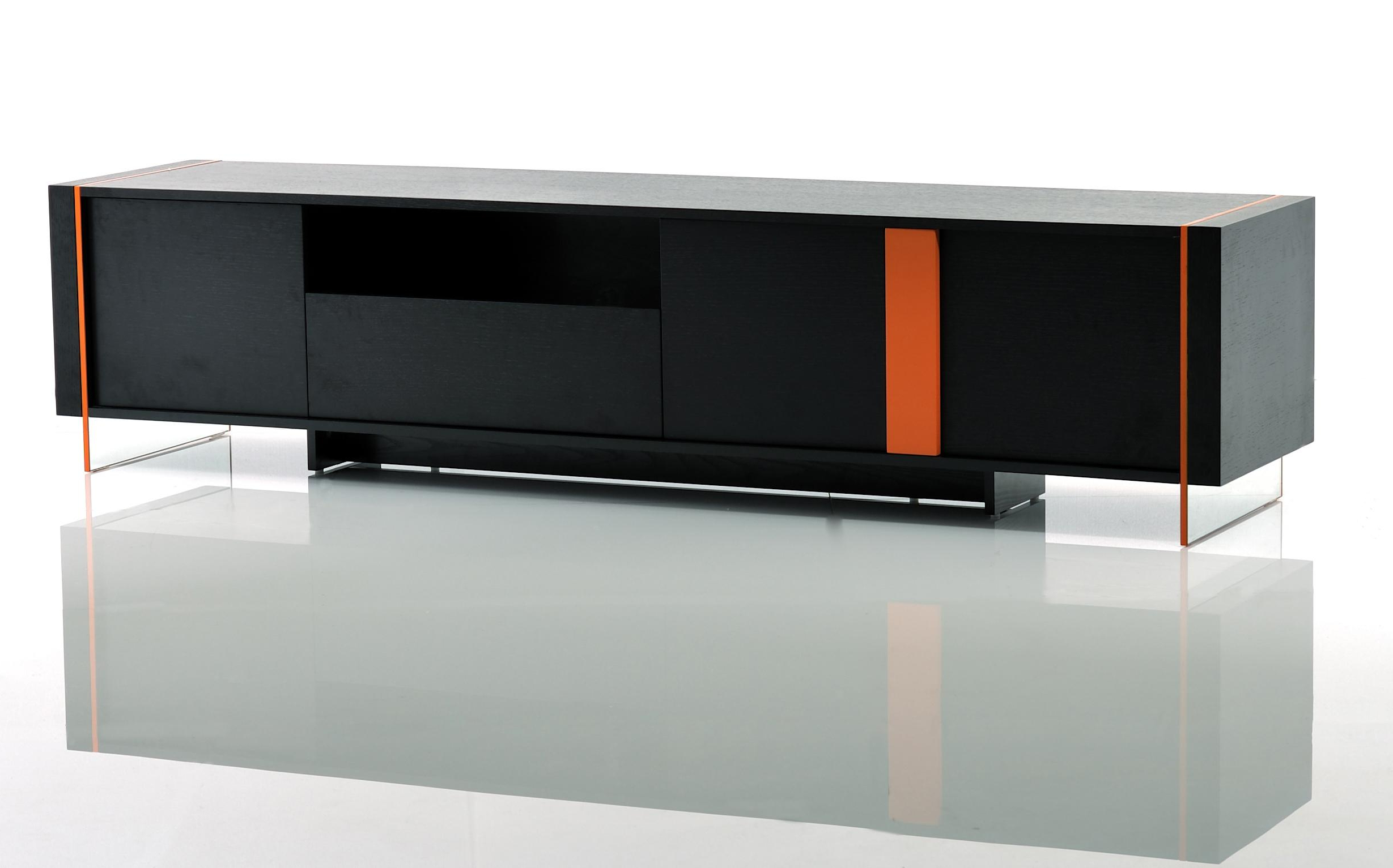 Contemporary Black Oak And Orange Floating Tv Stand Austin Texas Vvis In Most Recently Released Long Black Tv Stands (View 6 of 20)