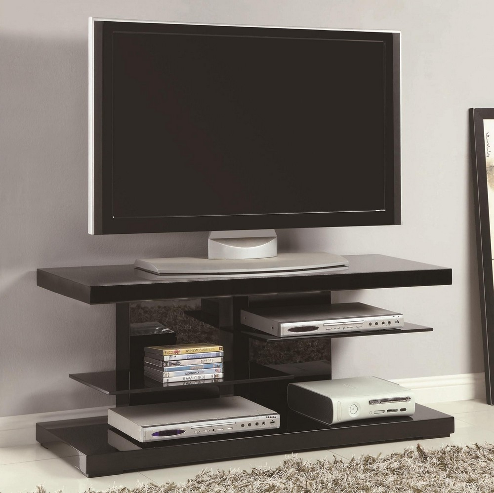 Contemporary Glass Tv Stands For Well Known Tania Contemporary Glossy Black Wood/glass Tv Standcoaster (Gallery 20 of 20)