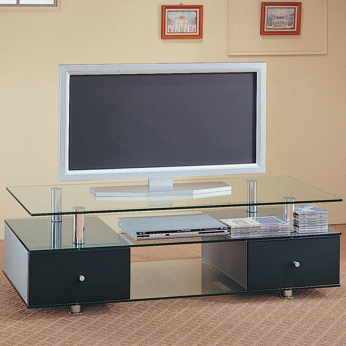 Contemporary Glass Tv Stands Inside Most Recently Released Tv Stands Contemporary Glass Media Console With Drawers Lowest Price (View 6 of 20)