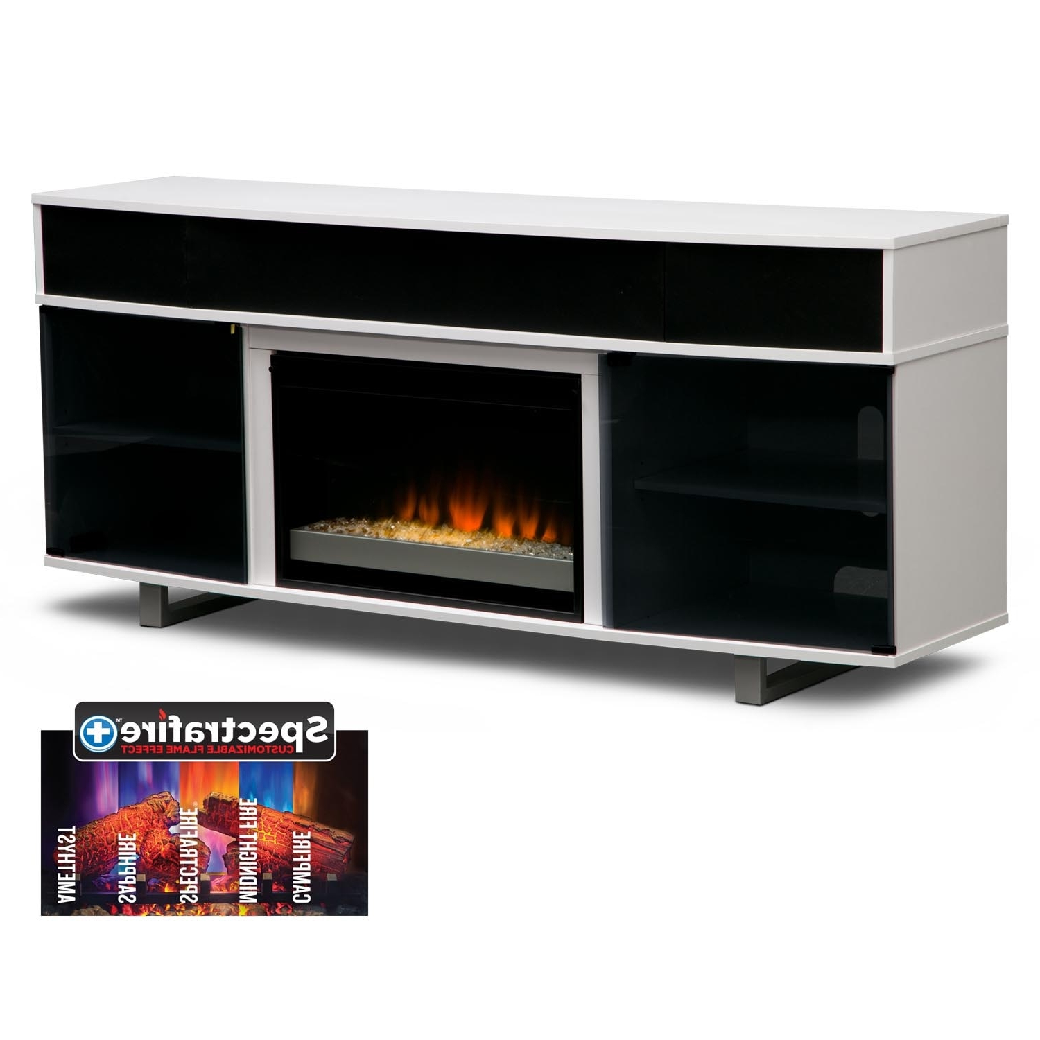 "Contemporary Tv Cabinets For Flat Screens Inside Favorite Pacer 72"" Contemporary Fireplace Tv Stand With Sound Bar – White (View 9 of 20)"