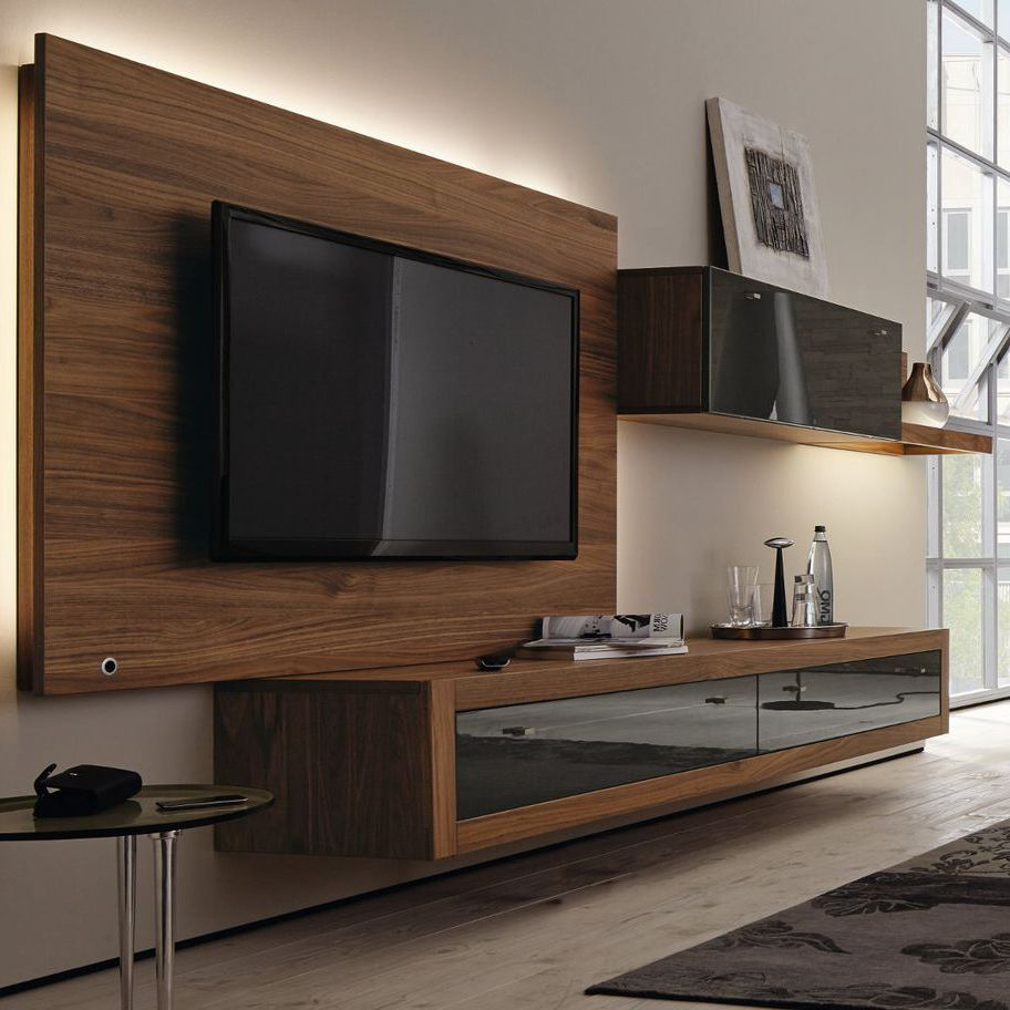 Contemporary Tv Wall Units Inside Latest Contemporary Tv Wall Unit / Walnut / Lowboard – Xelo – Hülsta (View 12 of 20)
