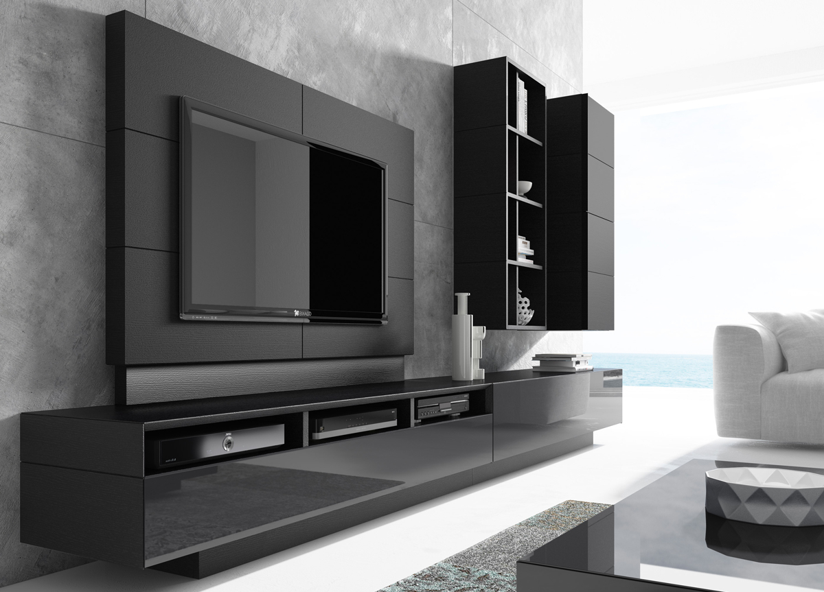 Contemporary Wall Units Intended For Large Black Tv Unit (Gallery 4 of 20)