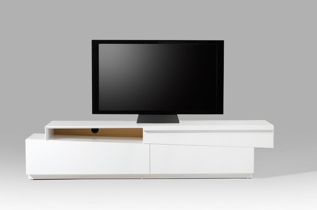 Contemporary White Tv Stands Pertaining To Widely Used Contemporary Slanted White High Gloss Tv Stand With Storage Drawers (View 4 of 20)