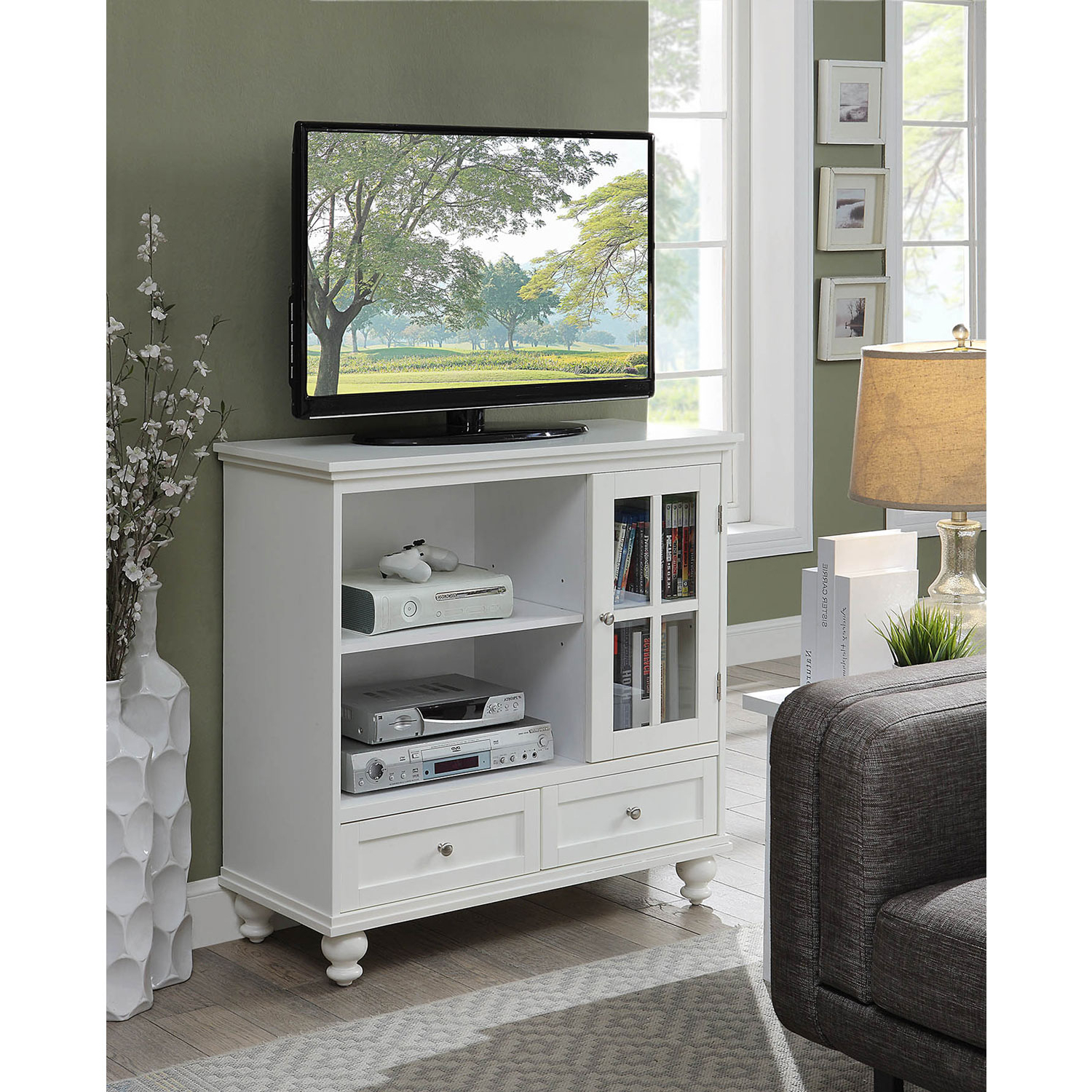 Convenience Concepts Tahoe Highboy Tv Stand In White 8067000W (View 6 of 20)