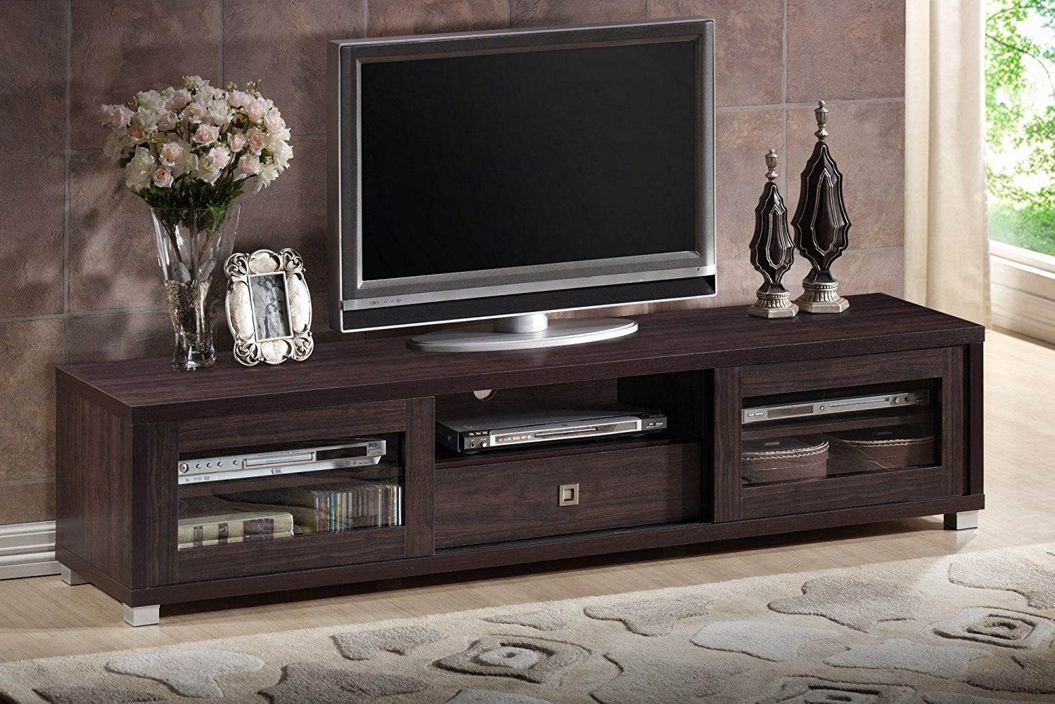 Coolest Dark Wood Tv Stand Amazon: Wholesale Interiors – Furnish Intended For Most Popular Dark Wood Tv Stands (View 3 of 20)