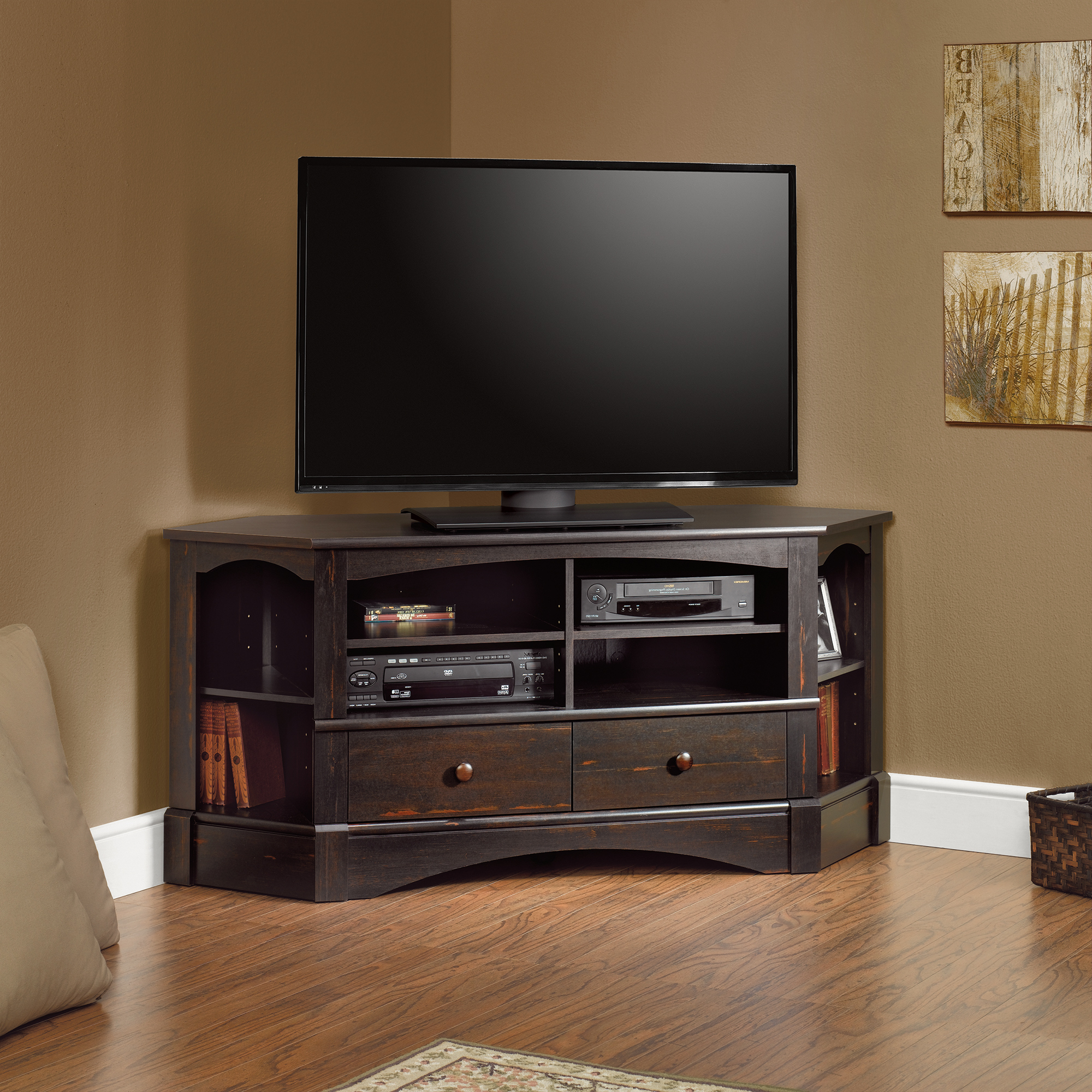 Corner Entertainment Credenza In Best And Newest Wood Corner Tv Cabinets (View 4 of 20)