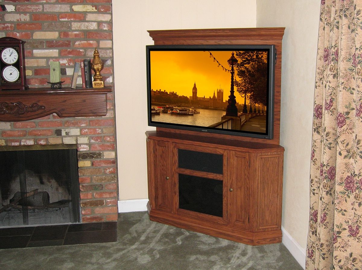 Corner Oak Tv Stands For Flat Screen Intended For 2017 Custom Corner Oak Tv Stand Entertainment Center (View 4 of 20)