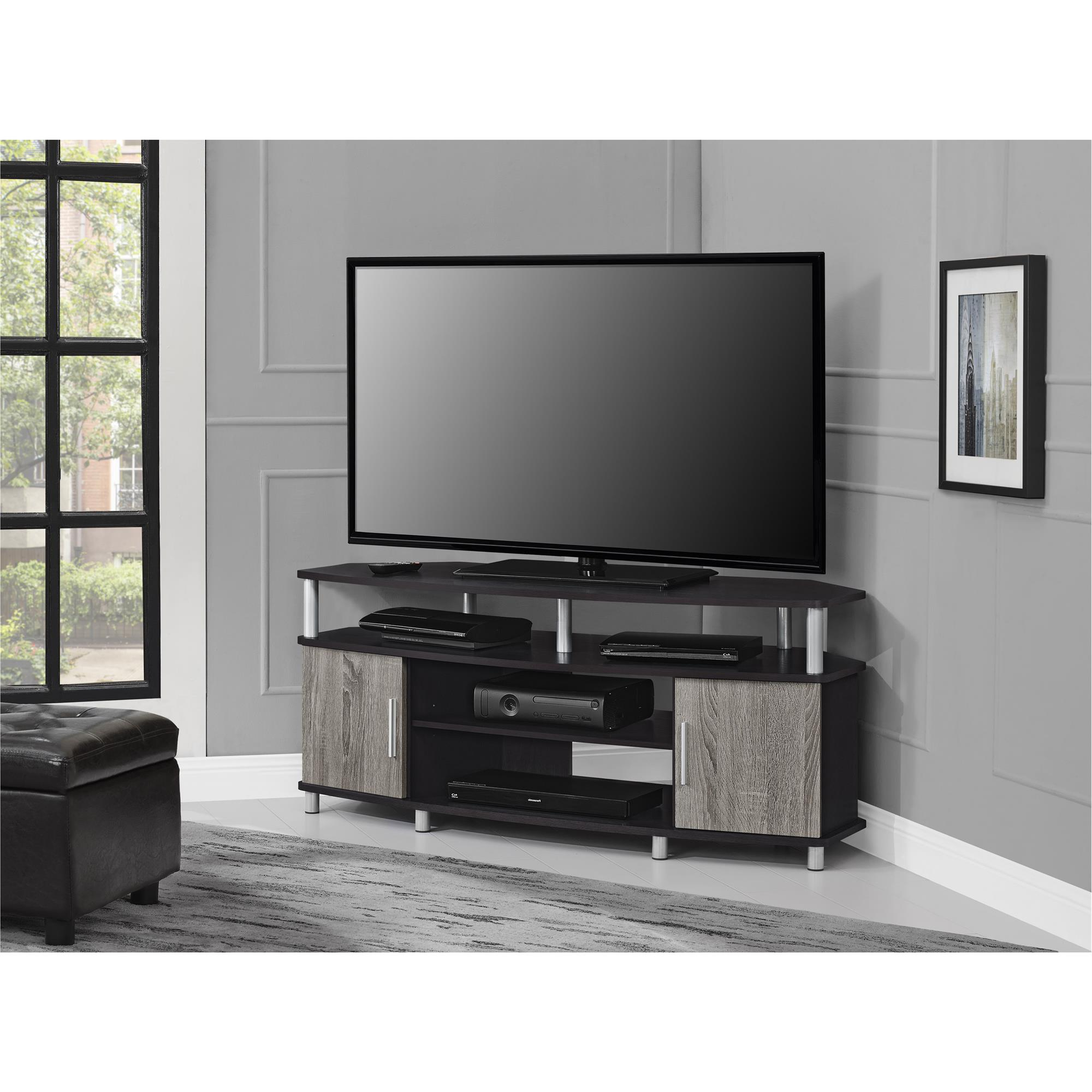 "Corner Oak Tv Stands For Flat Screen Throughout Most Current Ameriwood Home Carson Corner Tv Stand For Tvs Up To 50"" Wide, Black/cherry (View 6 of 20)"