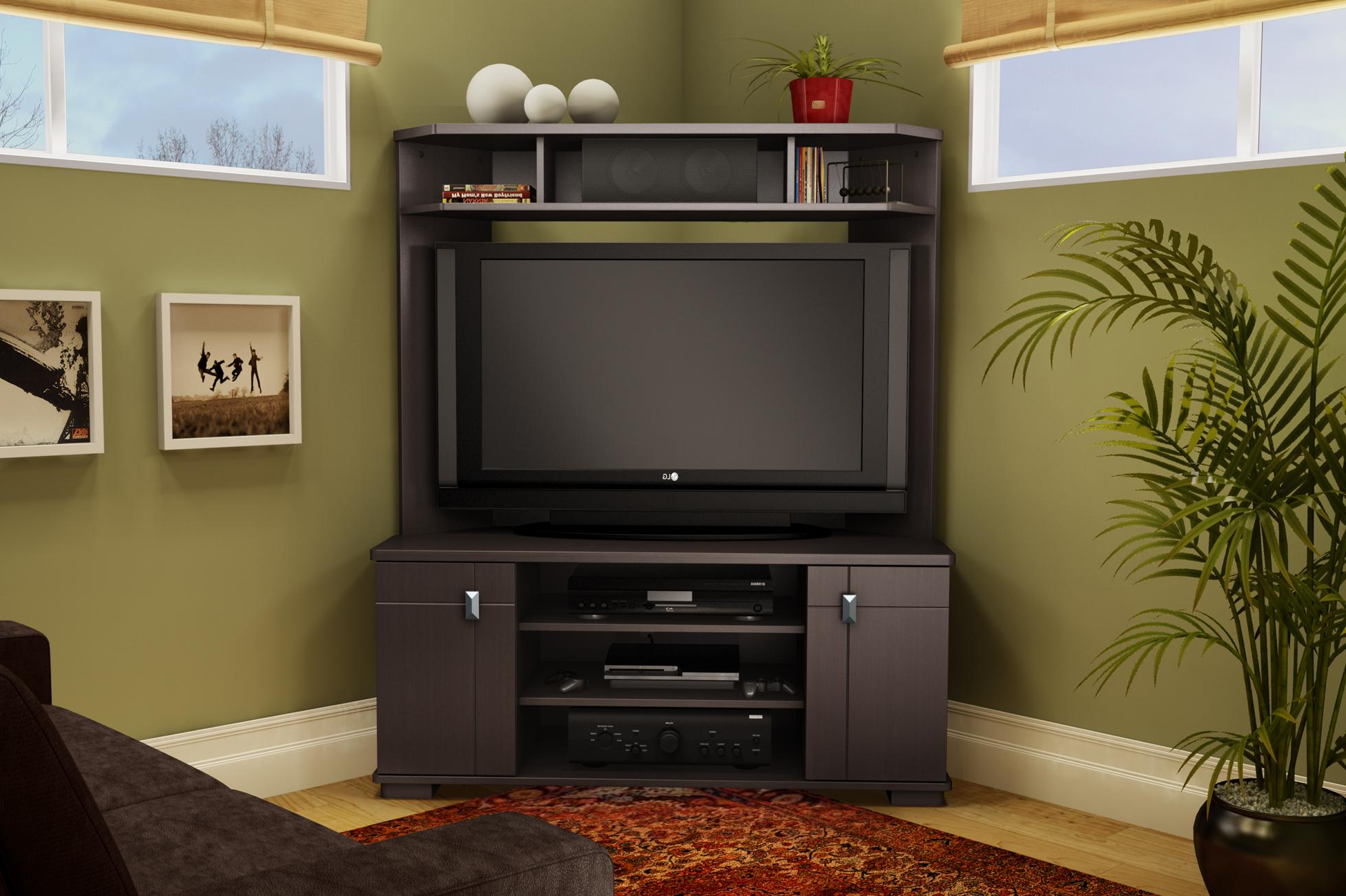 Corner Tv Cabinet Dark : Corner Tv Cabinet Contemporary Style For Current Corner Tv Cabinets With Hutch (View 11 of 20)