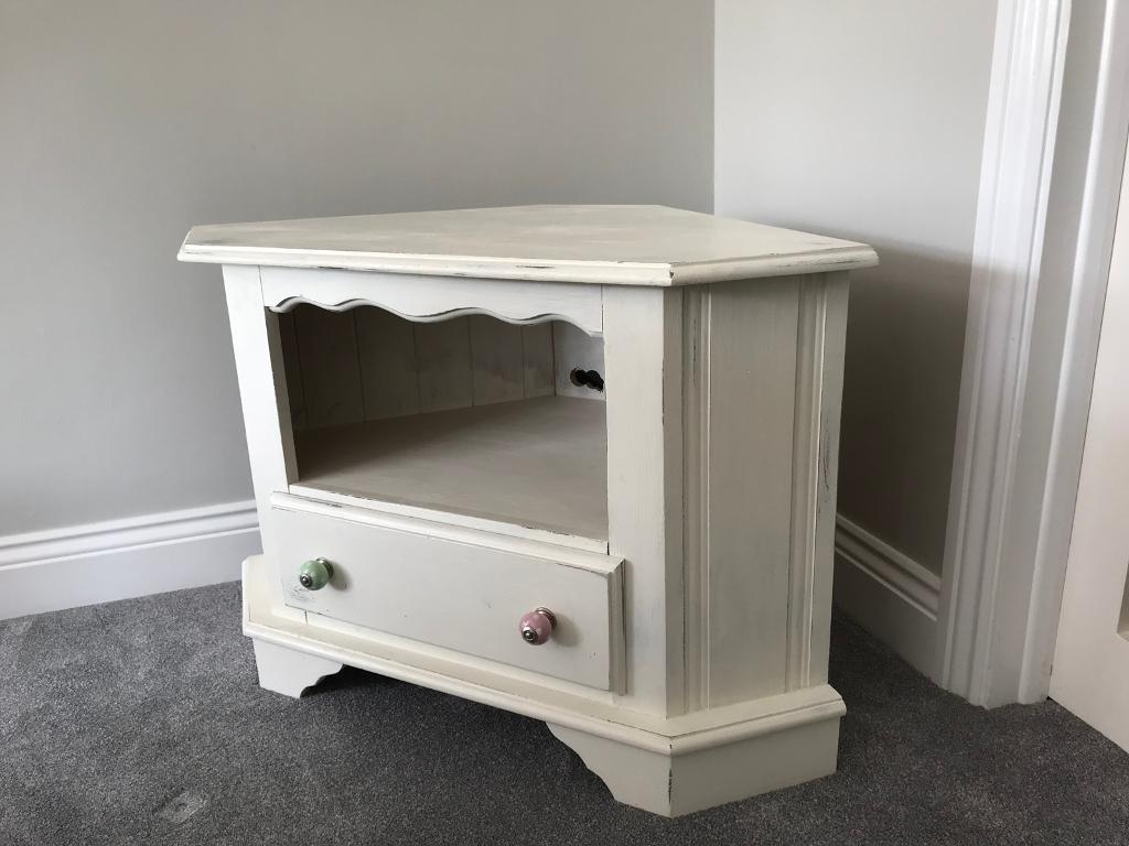 Corner Tv Cabinet Shabby Chic In White (View 3 of 20)