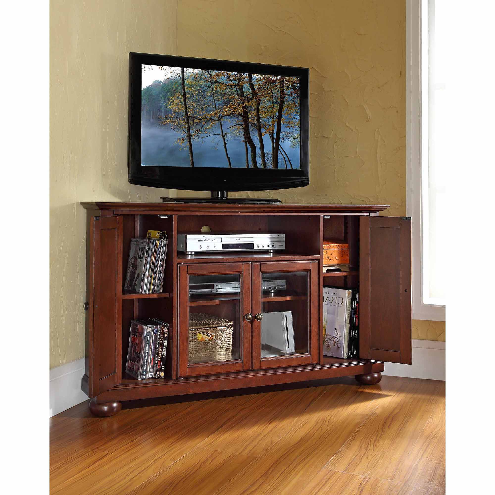 Corner Tv Cabinets For Flat Screens In Most Recent Crosley Furniture Alexandria Corner Tv Stand For Tvs Up To 48 (Gallery 5 of 20)