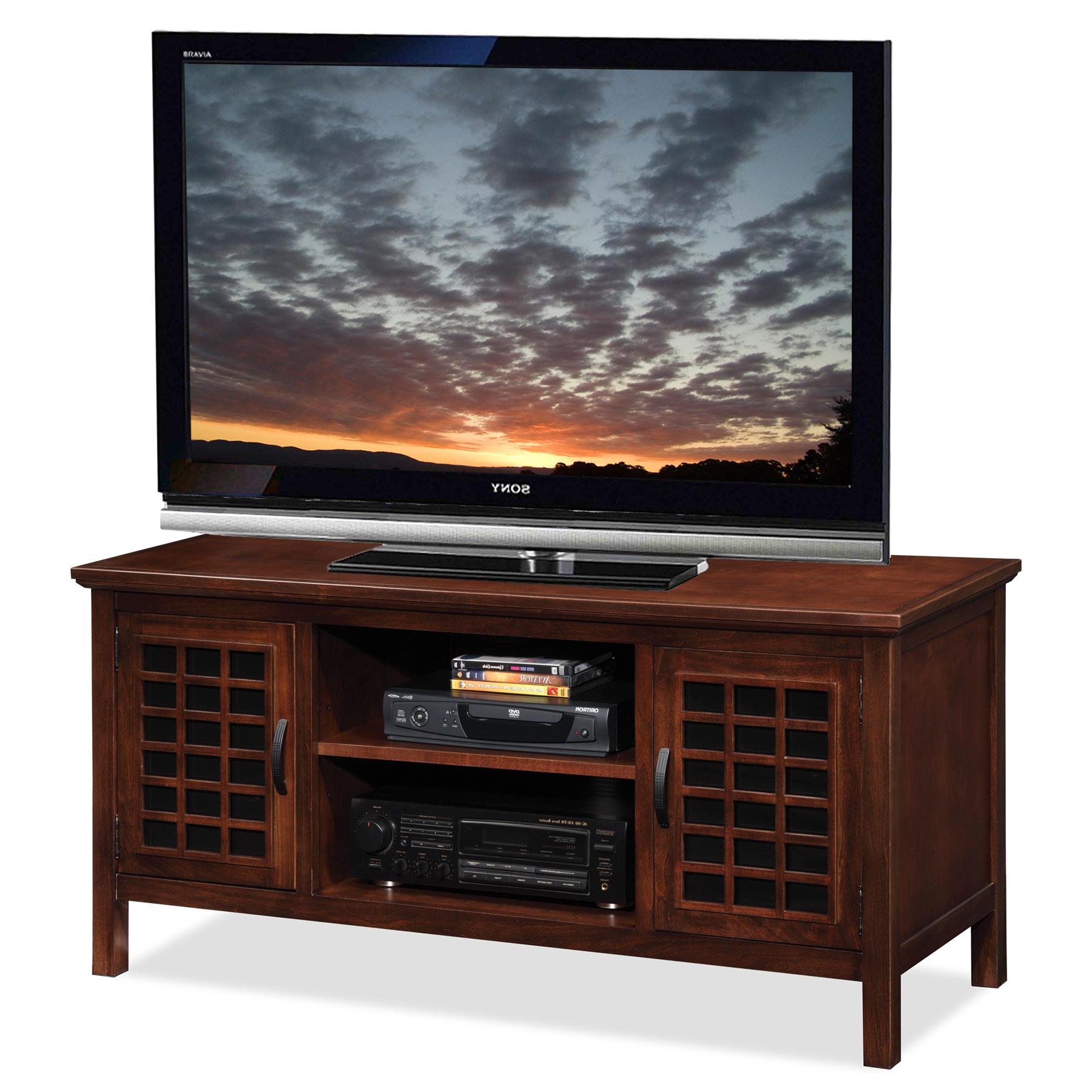 Corner Tv Cabinets For Flat Screens Intended For Fashionable Amazon: Leick 50 Inch Wide Tv Stand With Black Glass, Chocolate (View 5 of 20)