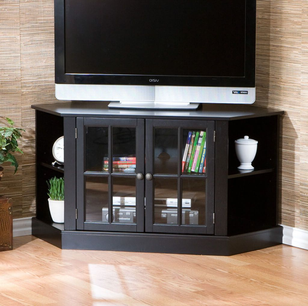 Corner Tv Cabinets With Glass Doors Pertaining To 2017 Furniture: Brown Solid Wood Corner Tv Stands With Side Storage (View 10 of 20)