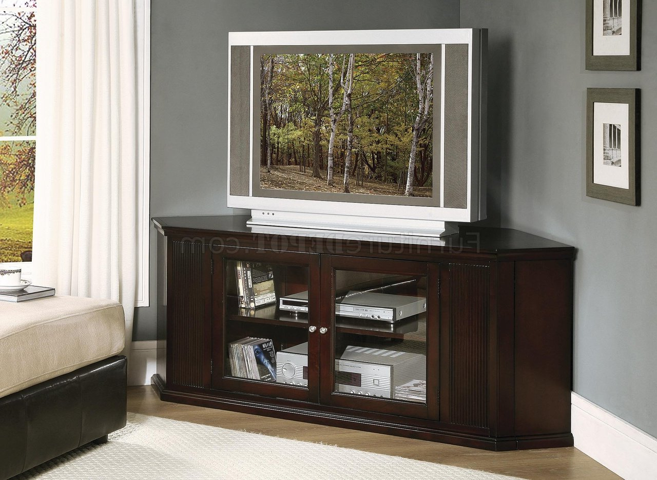 Corner Tv Cabinets With Glass Doors Regarding Newest Deep Deco Cherry Finish Corner Tv Stand W/framed Glass Doors (View 9 of 20)