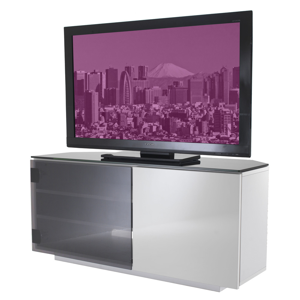Corner Tv Cabinets With Glass Doors Within Best And Newest Uk Cf Tokyo Gloss White & Black Glass 2 Door Corner Tv Cabinet 110Cm (Gallery 18 of 20)