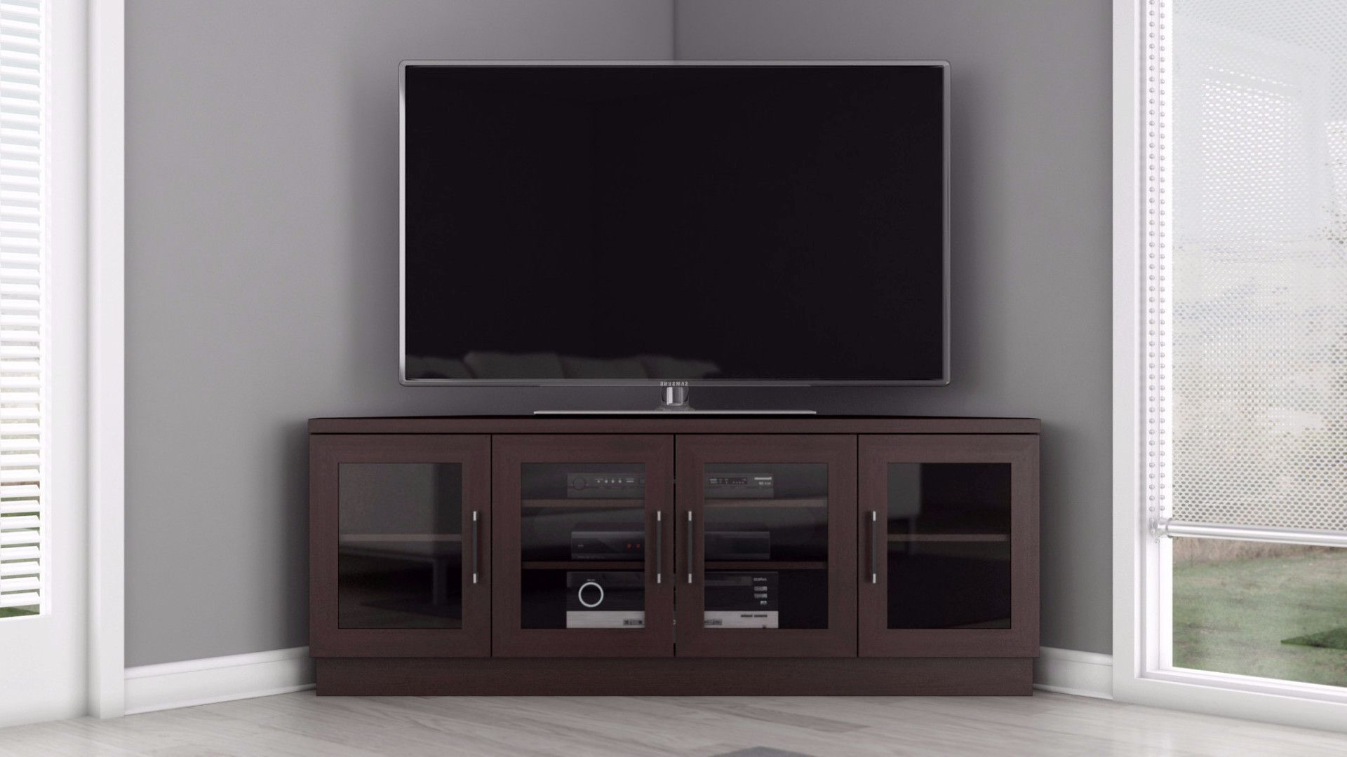 "Corner Tv Stands For 60 Inch Flat Screens Regarding Most Current 60"" Wenge Corner Media Console Ft60Cccw (View 7 of 20)"