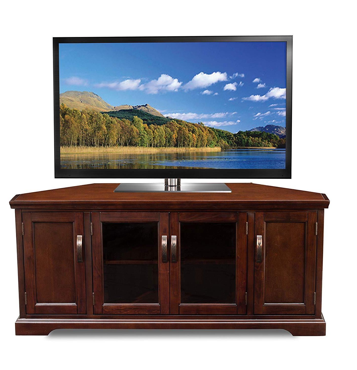 "Corner Tv Stands For 60 Inch Tv With Regard To Current Leick 81386 Chocolate Cherry Corner Tv Stand, 60"": Amazon (View 4 of 20)"