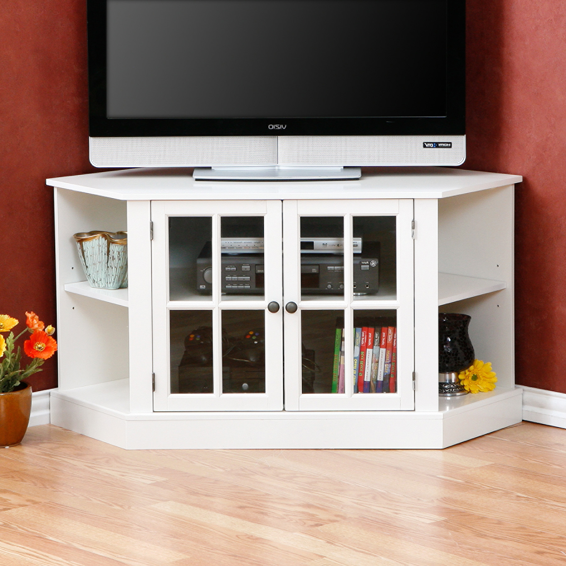 Corner Tv Stands Throughout Most Popular Triangular Tv Stands (View 5 of 20)