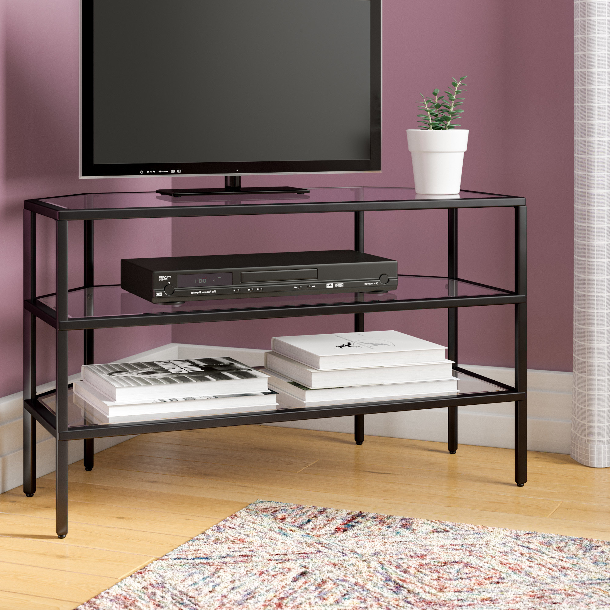 Corner Tv Stands You'll Love With Regard To Most Recently Released Wood Tv Stands With Glass Top (View 5 of 20)