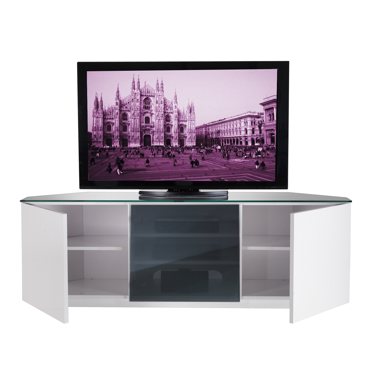 Corner Tv Unit White Gloss Intended For Best And Newest Ukcf Milan White Gloss & Black Glass Corner Tv Stand 150Cm (Gallery 8 of 20)