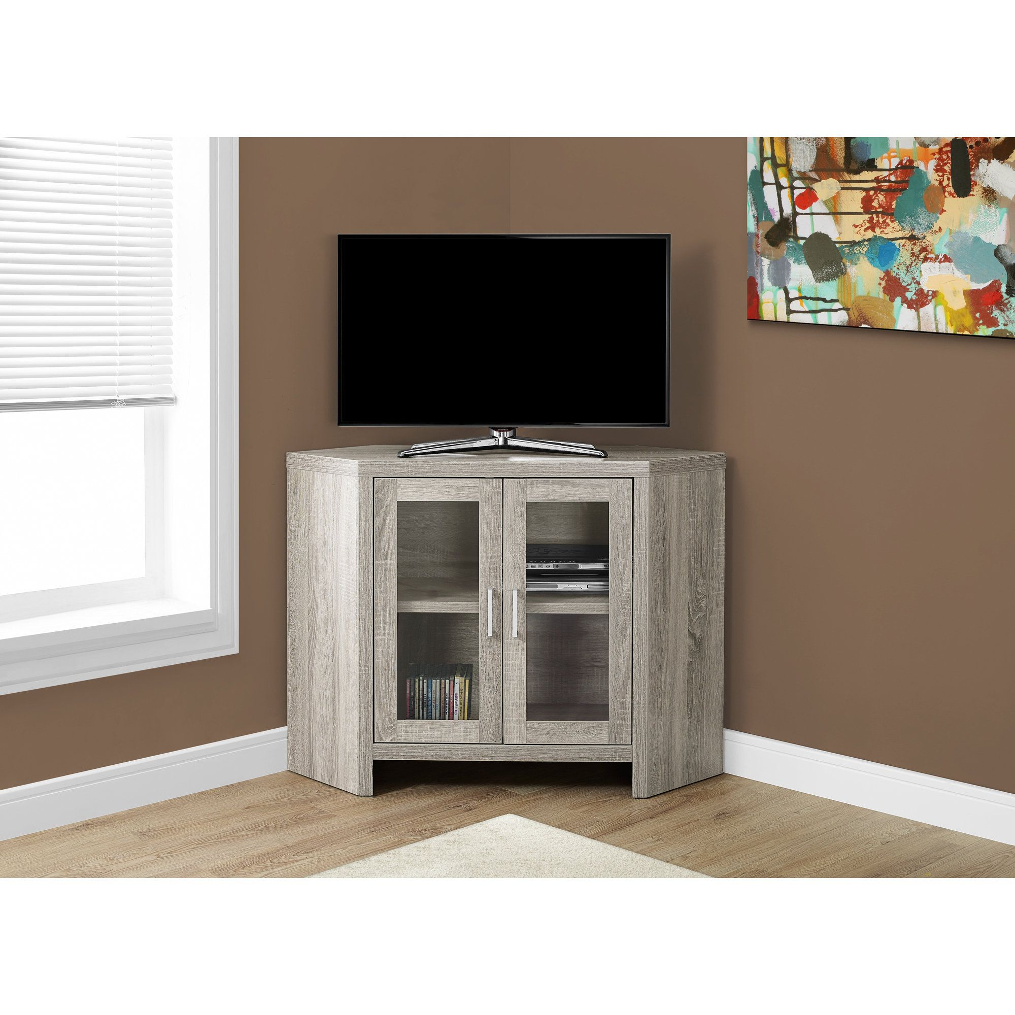 Corner Tv Unit With Glass Doors Intended For Most Up To Date Monarch Dark Taupe 42 Inch Long Corner Tv Stand With Glass Doors (tv (View 5 of 20)