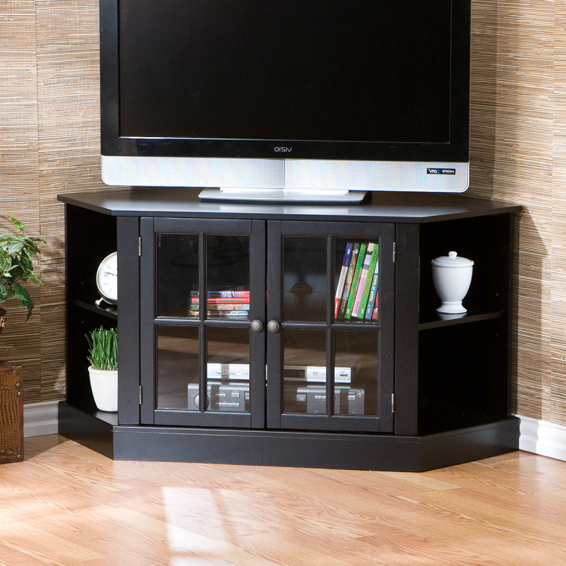 Corner Tv Unit With Glass Doors With Regard To Latest Corner Tv Stand Glass With Mount Black Cabinet Doors Small Techlink (View 14 of 20)