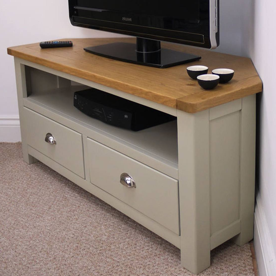 Corner Tv Units In Most Popular Aspen Oak Large Corner Tv Unit / Painted Tv Stand / Sage Grey With (View 3 of 20)