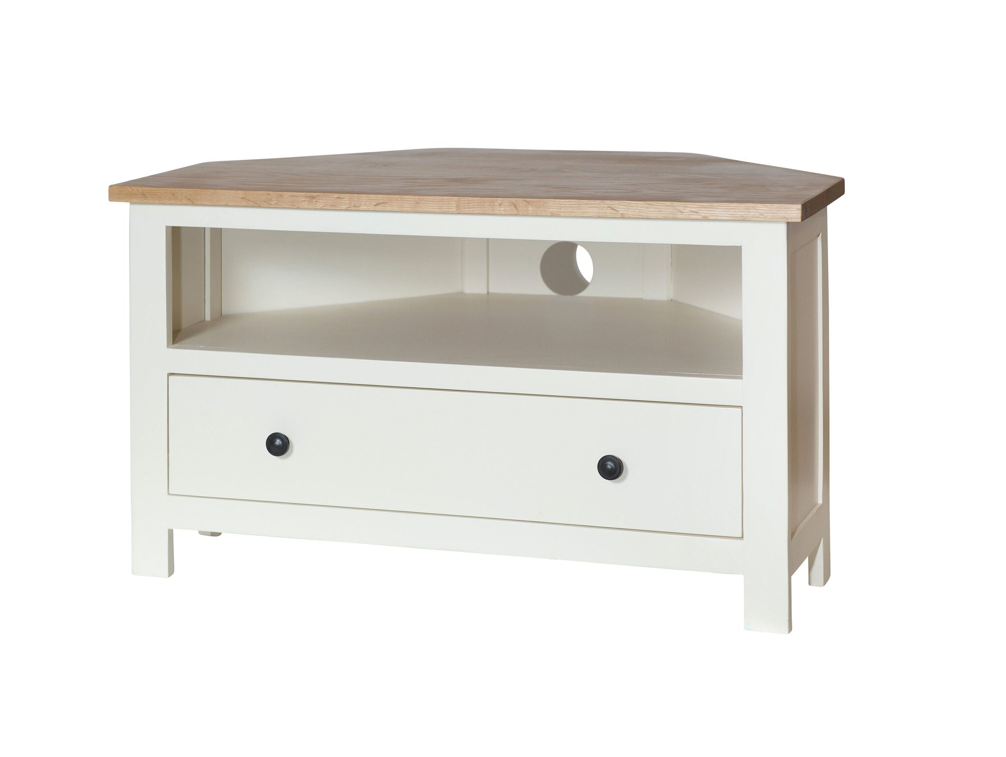 Corner Tv Units Pertaining To Favorite So – Cream Painted Oak Top Corner Tv Unit – Country Furniture Barn (View 20 of 20)
