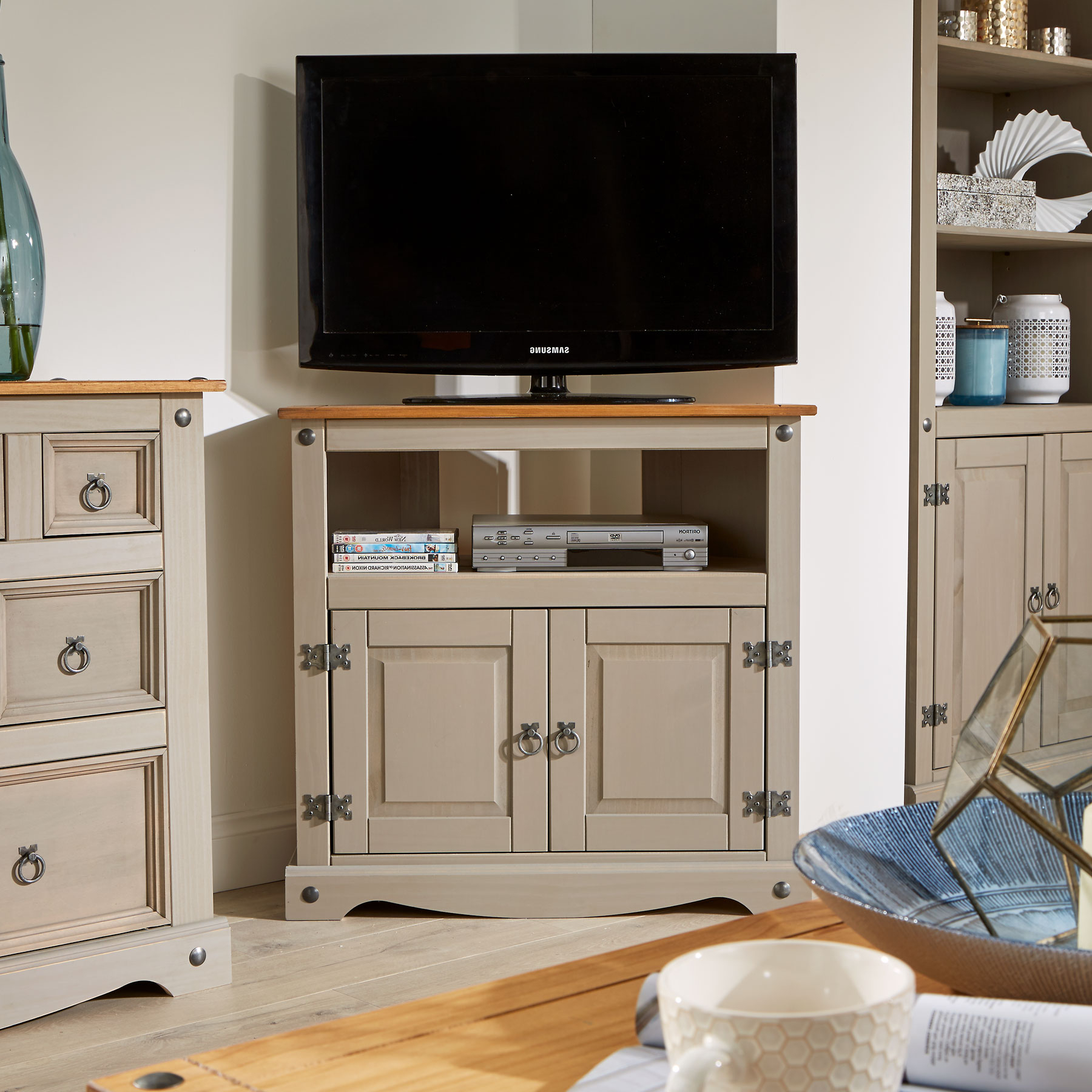 Corner Unit Tv Stands Pertaining To Widely Used Grey Tv Stand Pine 2 Door Television Cabinet Corner Unit Corona Wood (View 9 of 20)