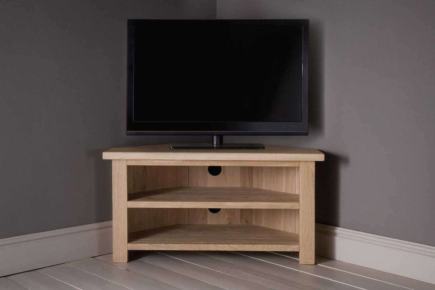 Corner Wooden Tv Cabinets In Recent Oak Corner Tv Unit With Shelfindigo Furniture (View 4 of 20)