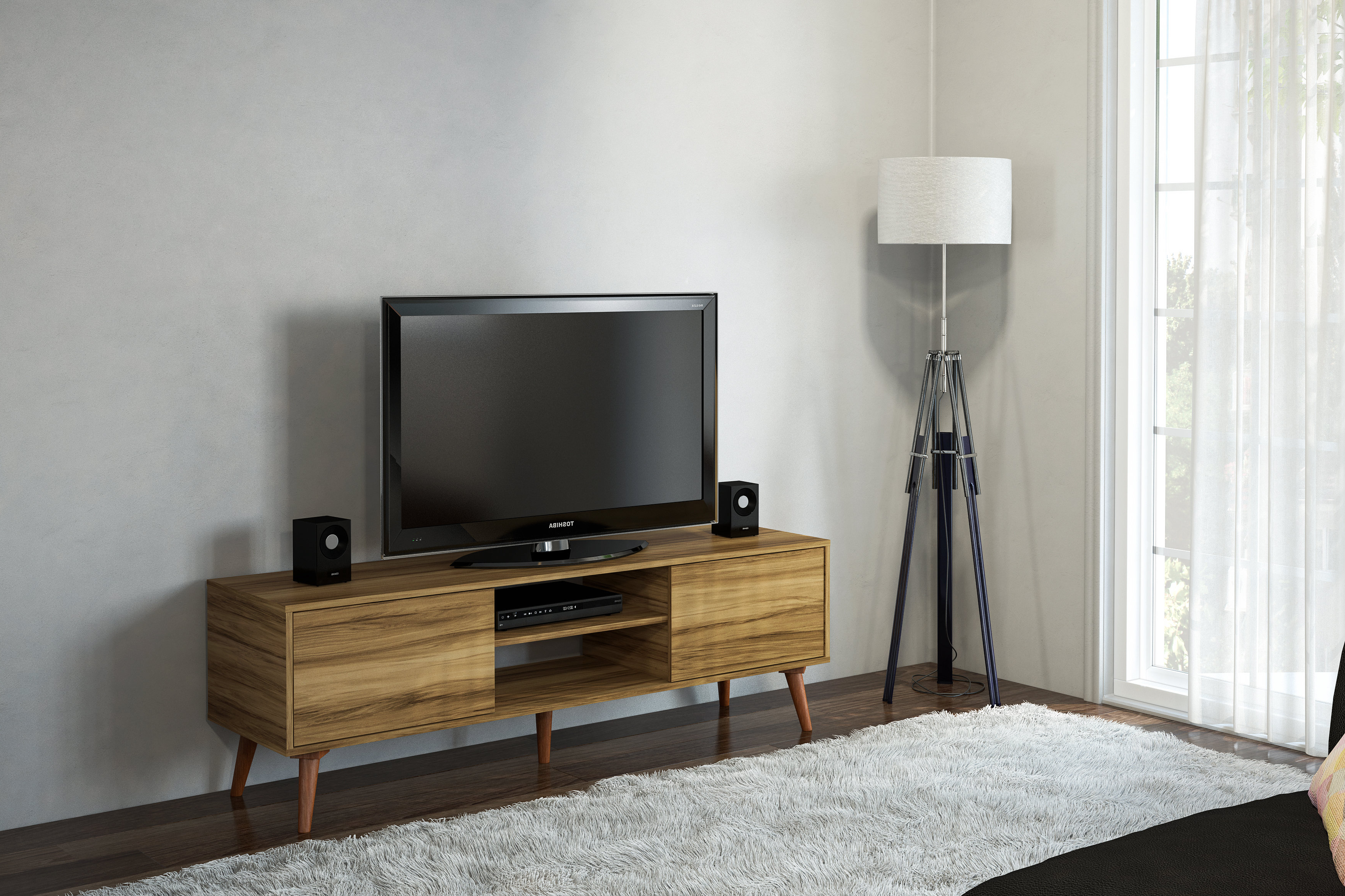 """Corrigan Studio Kenna Stylish Tv Stand For Tvs Up To 65"""" & Reviews Within Fashionable Stylish Tv Cabinets (View 17 of 20)"""
