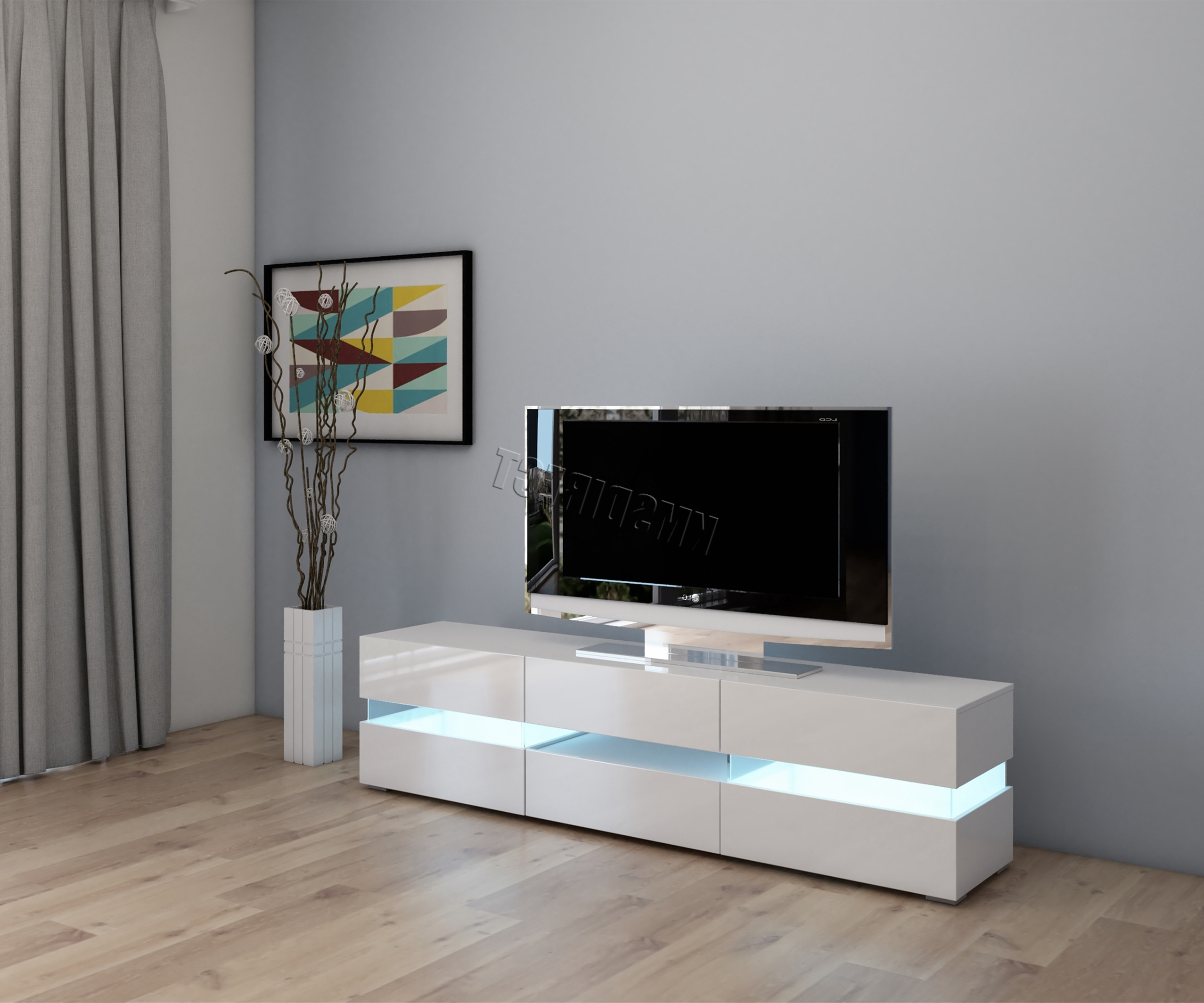 Cosmetic Damaged Modern High Gloss Matt Tv Cabinet Unit Stand White Pertaining To Most Up To Date Gloss White Tv Cabinets (View 2 of 20)