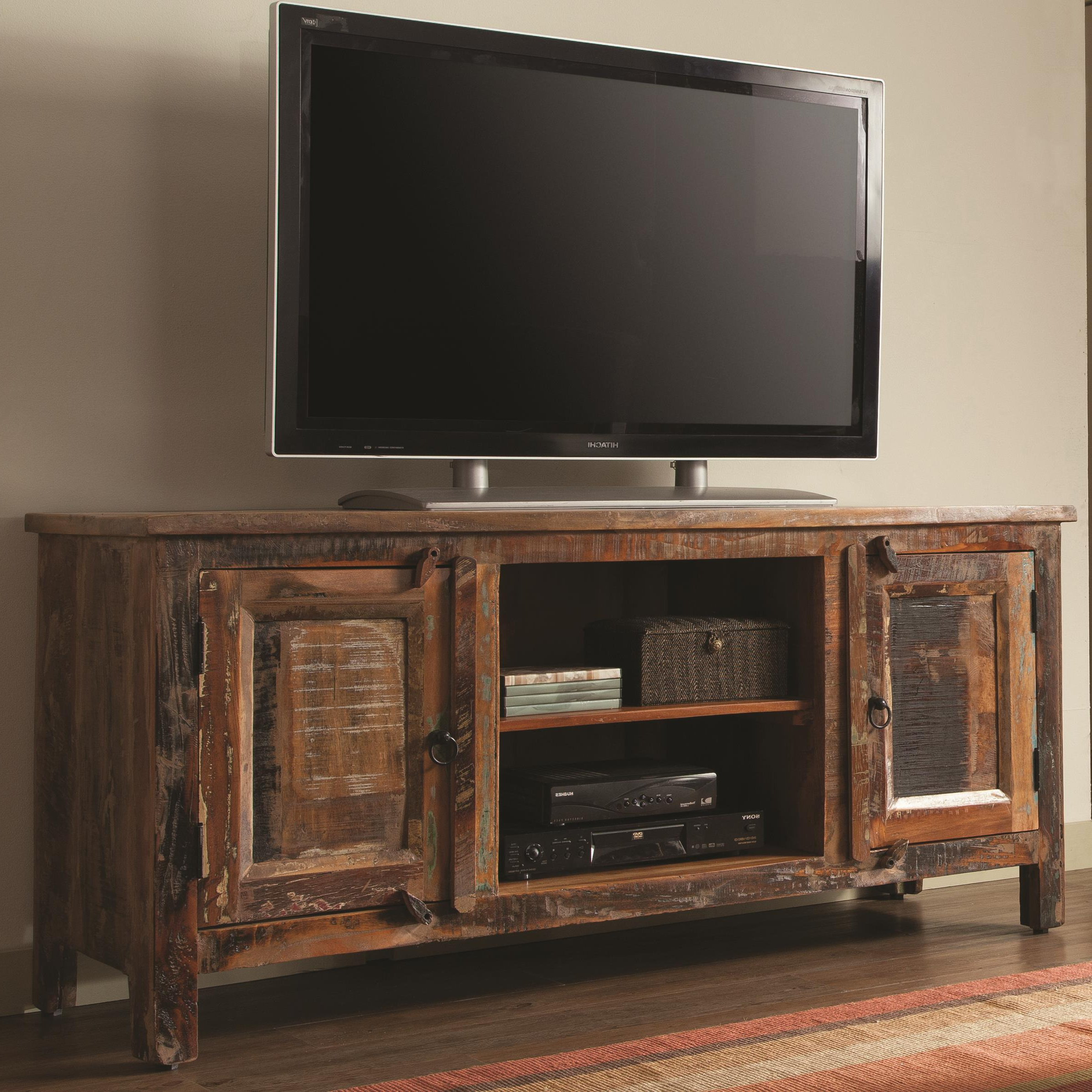 Country Style Tv Cabinets Inside Trendy Coaster Accent Cabinets Reclaimed Wood Tv Stand (View 3 of 20)