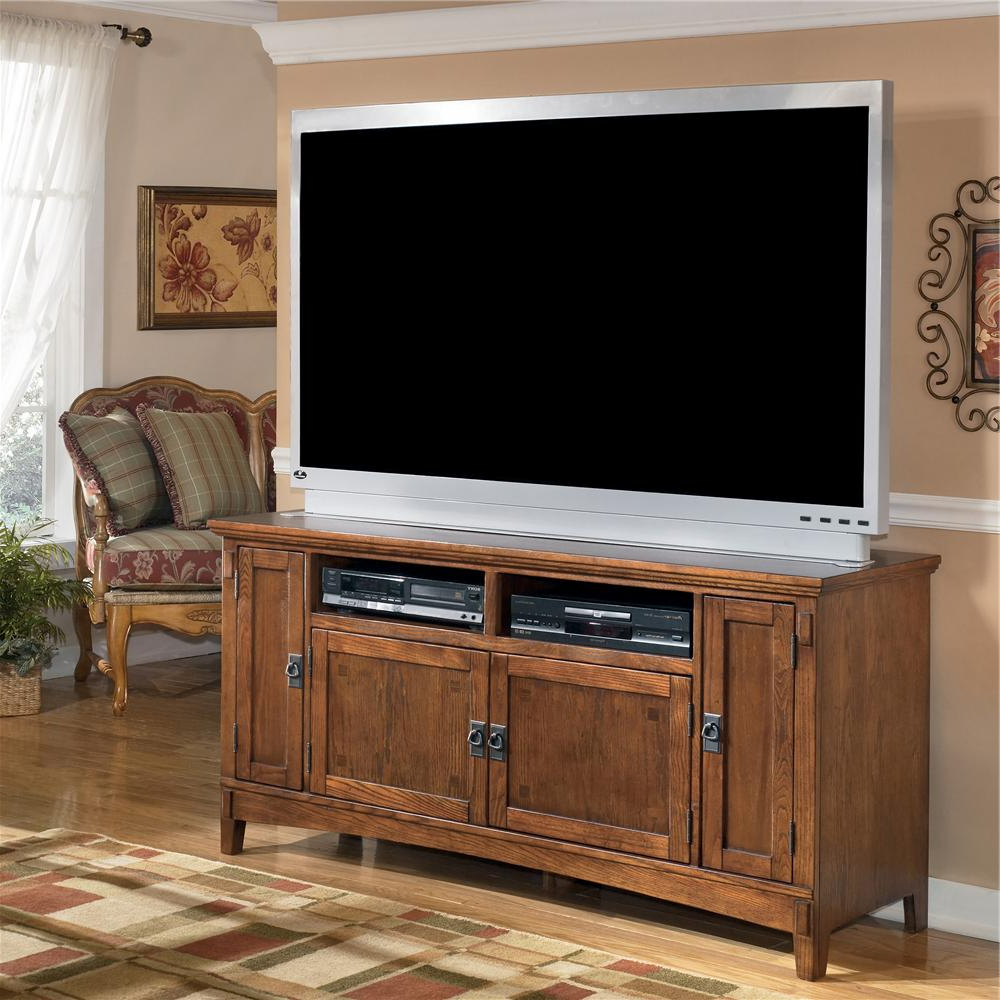 Country Style Tv Stands In Well Liked 60 Inch Oak Tv Stand With Mission Style Hardwareashley Furniture (View 7 of 20)