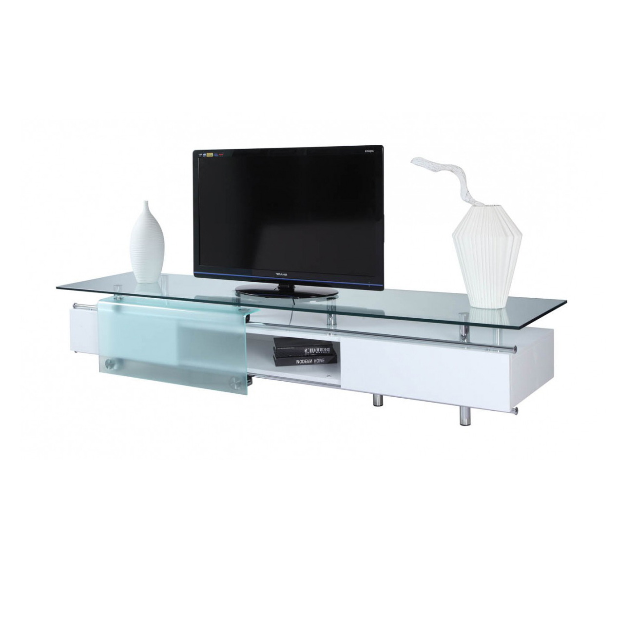 Cozy Glossy Tv Stand On Furniture For Home Tv Stands Along With Regarding Best And Newest White Glass Tv Stands (View 7 of 20)
