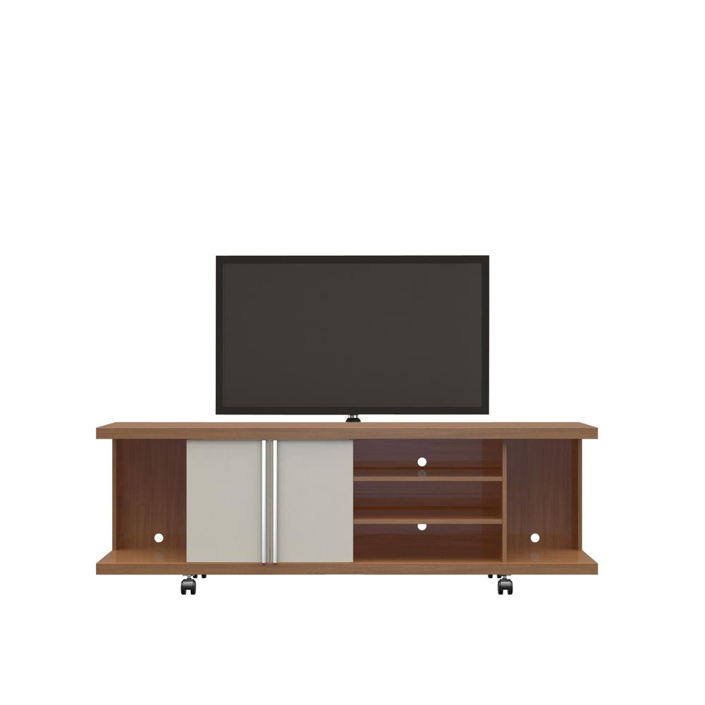 Cream Gloss Tv Stands With Well Known Manhattan Comfort Carnegie Maple Cream And Off White Entertainment (View 3 of 20)