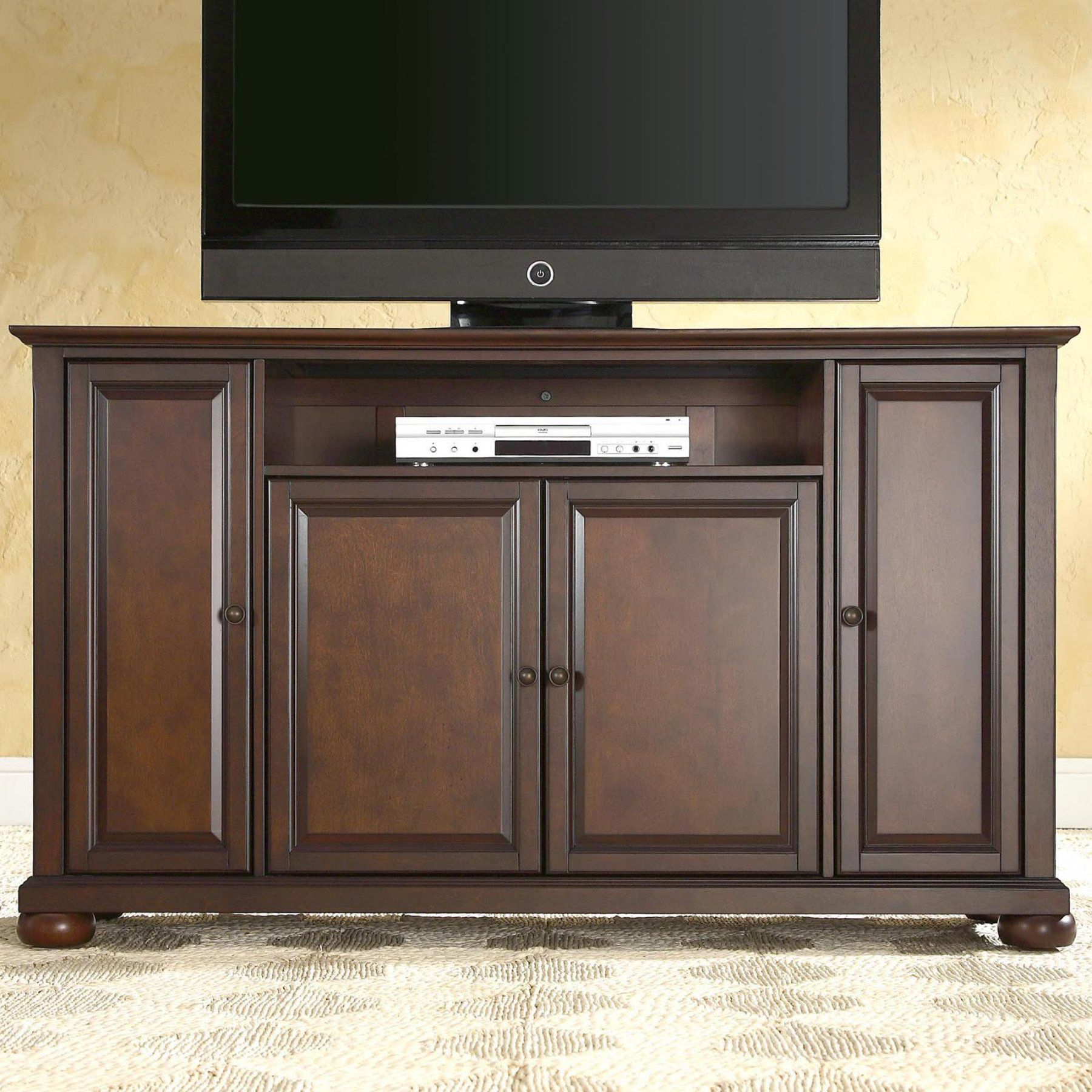 Crosley Alexandria 60 In. Tv Stand – Vintage Mahogany – Kf10001Ama In Most Recent Mahogany Tv Stands (Gallery 3 of 20)