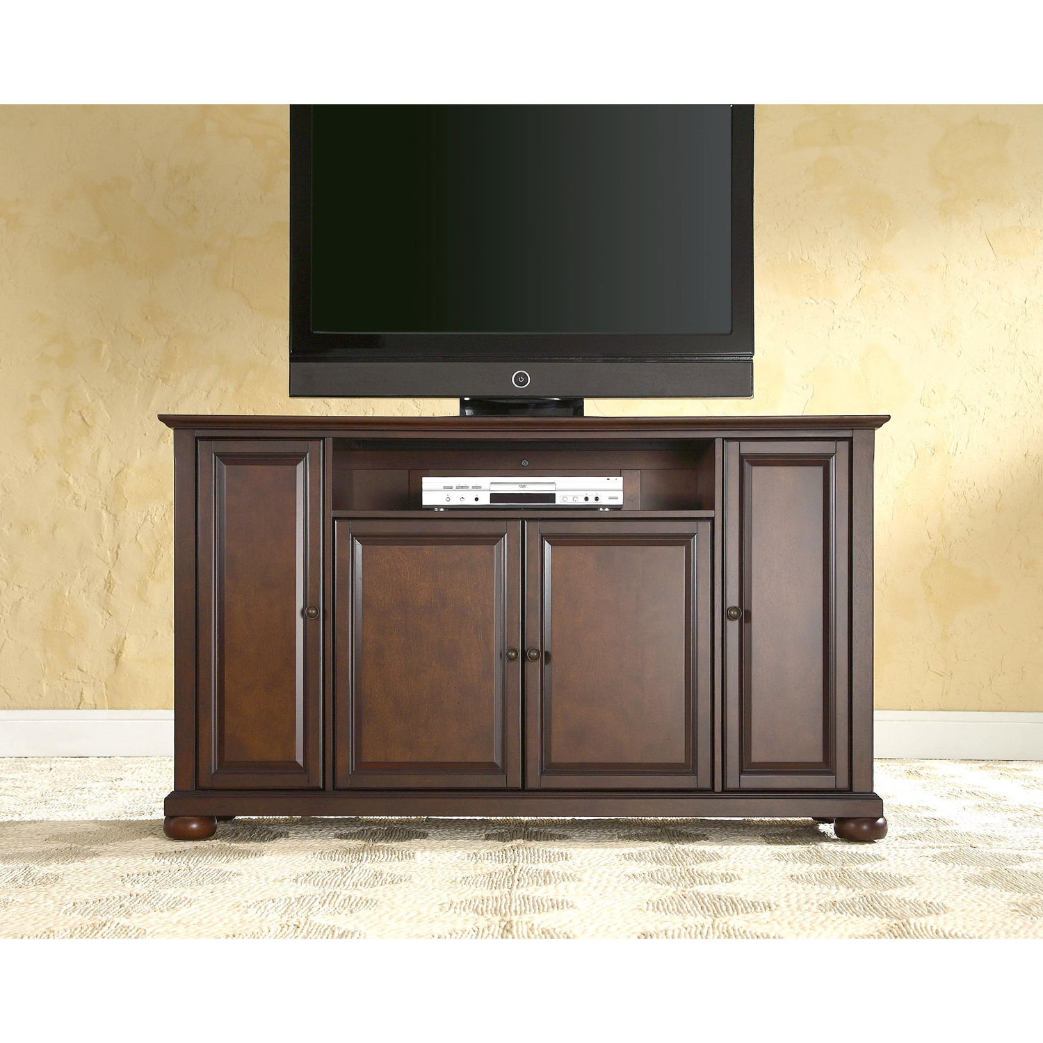 Crosley Furniture Alexandria 60 Inch Tv Stand In Vintage Mahogany With Regard To Well Liked Mahogany Tv Stands (Gallery 12 of 20)