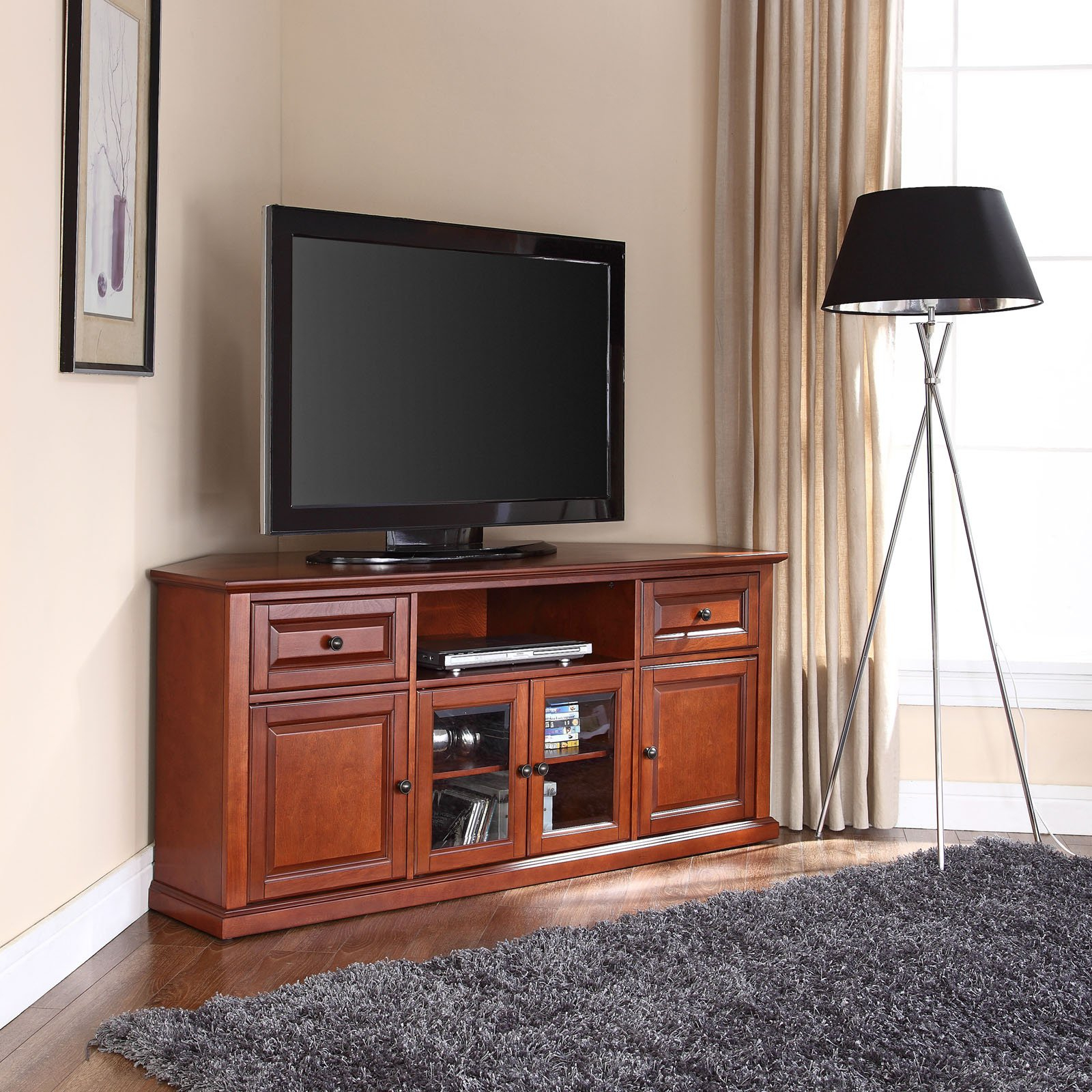 "Crosley Furniture Corner Tv Stand For Tvs Up To 60"" Within Trendy Wood Corner Tv Cabinets (View 6 of 20)"