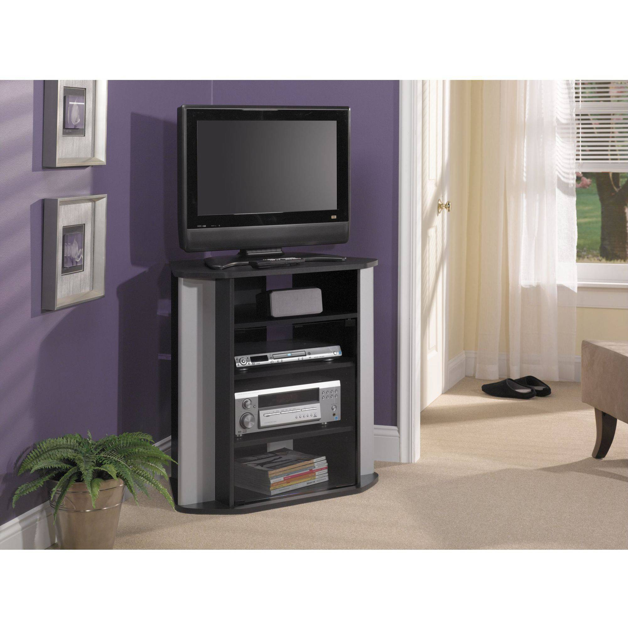 Current Black Tv Stand With Glass Doors Within Bush Furniture Visions Tall Corner Tv Stand In Black And Metallic (View 18 of 20)