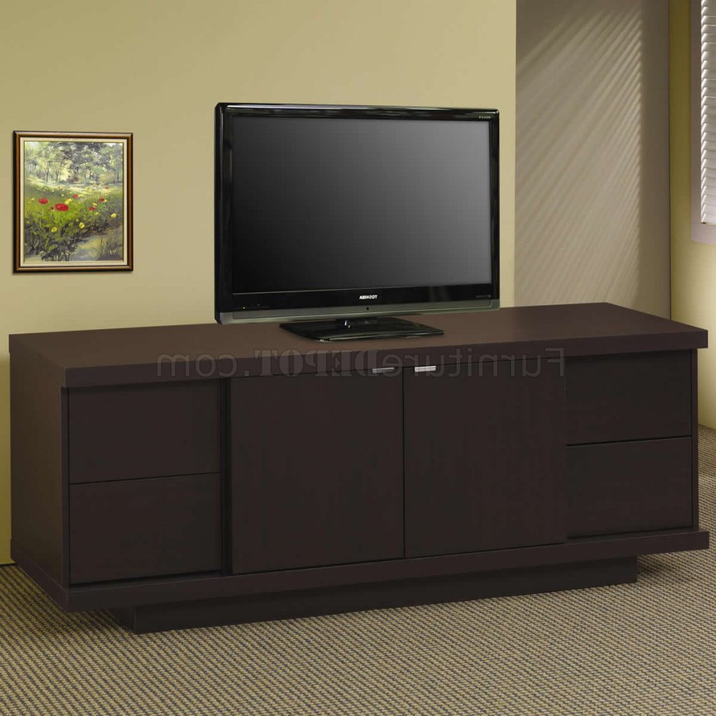 Current Cappuccino Finish Modern Tv Stand W/four Storage Drawers Inside Storage Tv Stands (Gallery 6 of 20)