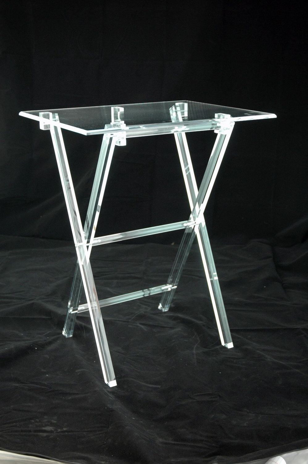 Current Clear Acrylic Lucite Set Of 2 Folding Snack Tv Trays With Stand #tv Throughout Acrylic Tv Stands (View 9 of 20)