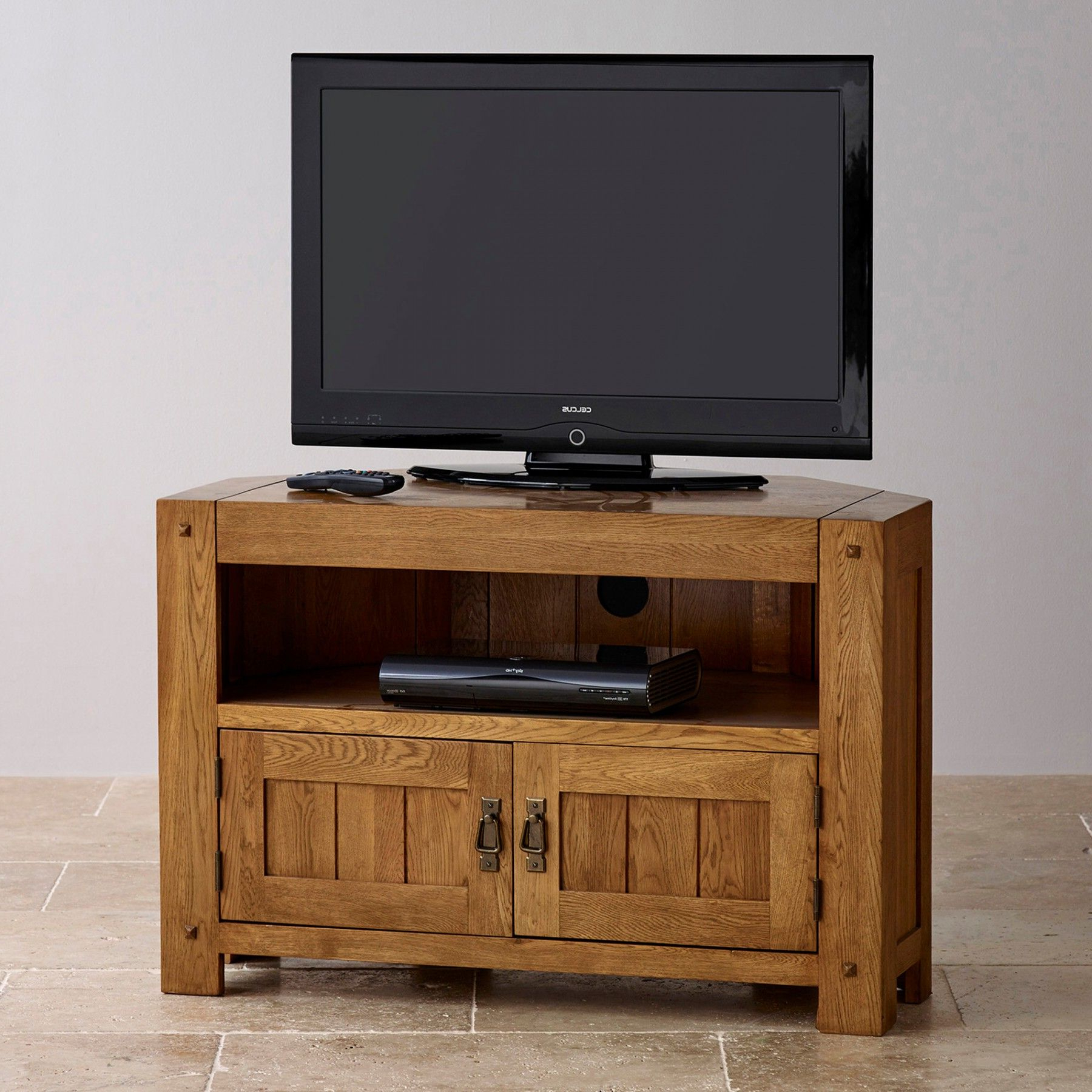 Current Corner Wooden Tv Cabinets With The Quercus Rustic Solid Oak Corner Tv Cabinet Is Designed To (View 8 of 20)
