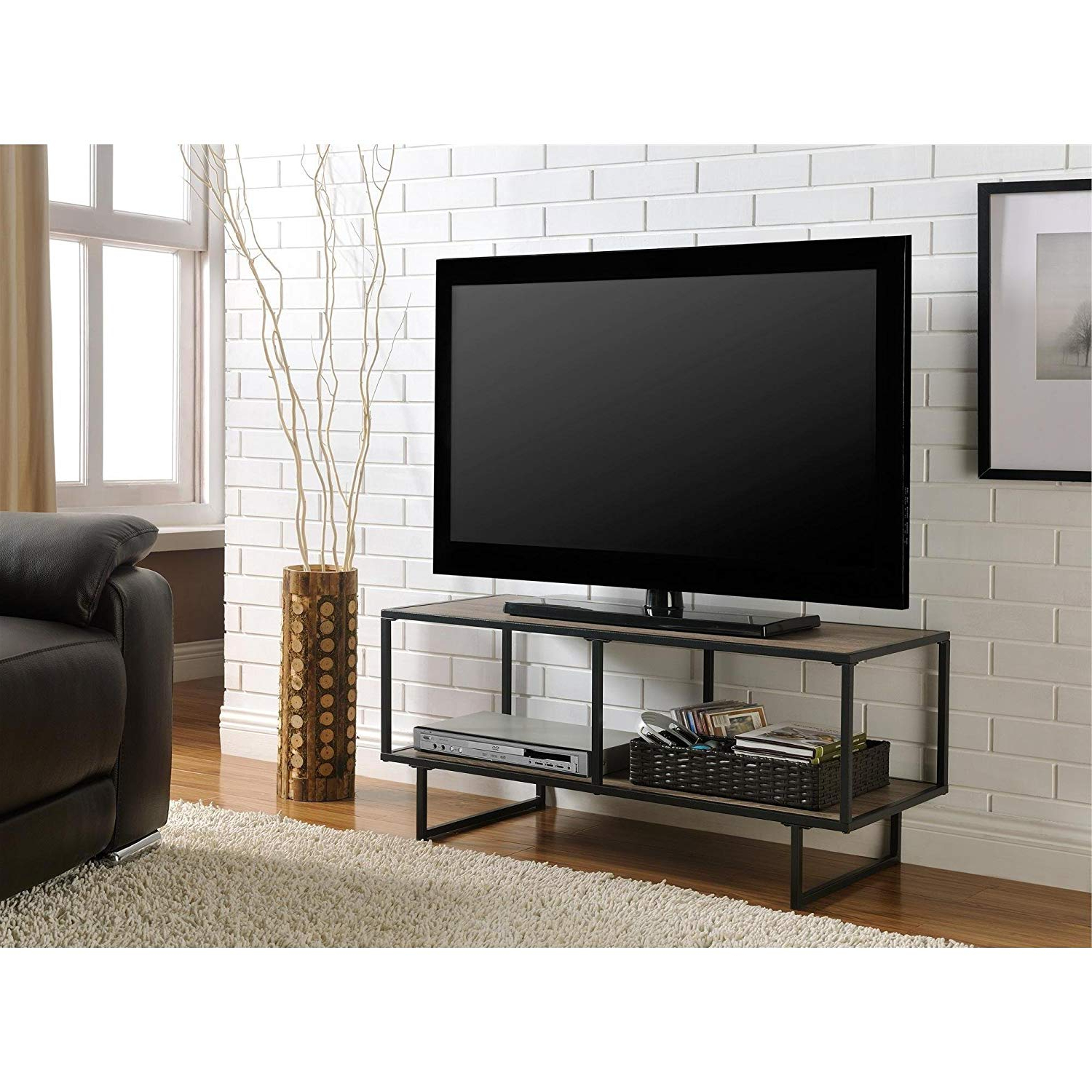 Current Gunmetal Media Console Tables Throughout Amazon: Metro Shop Emmett Gunmetal Grey Tv Stand Sonoma Oak (View 6 of 20)
